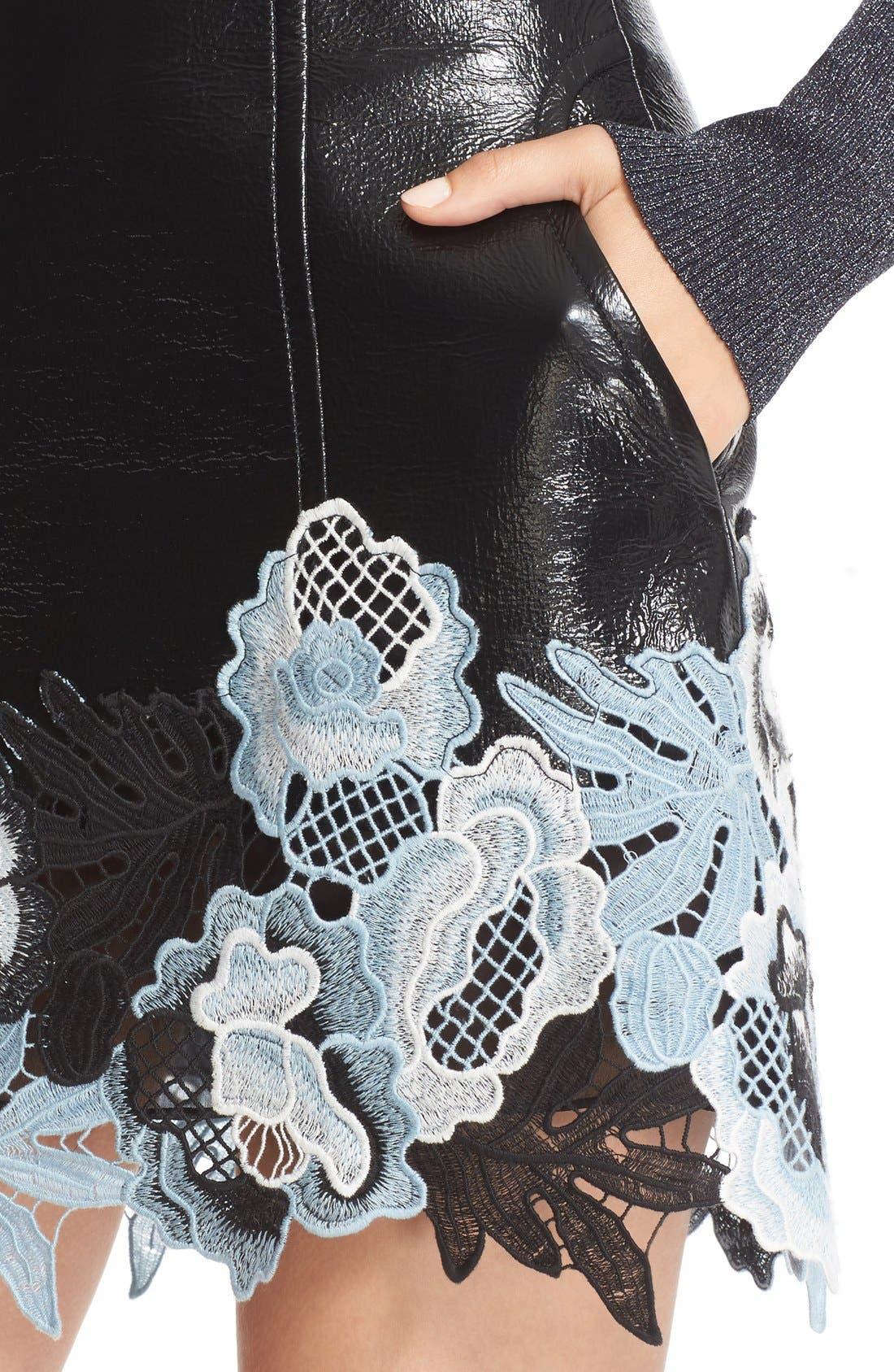 Alternate Image 5  - 3.1 Phillip Lim Lace Trim Crinkle Patent Vinyl Skirt