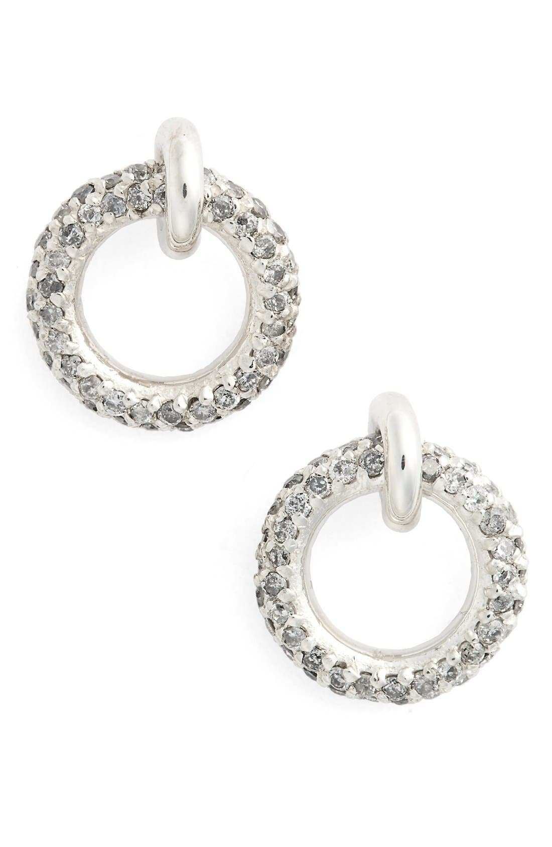 Pavé Halo Grey Diamond Stud Earrings,                             Main thumbnail 1, color,                             Grey Diamond