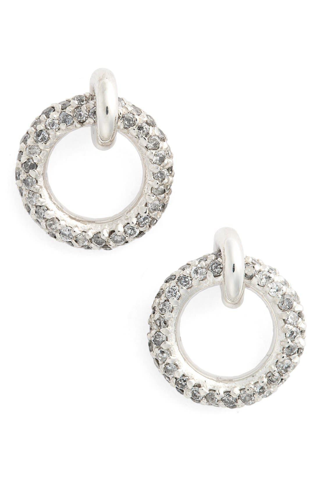 Pavé Halo Grey Diamond Stud Earrings,                         Main,                         color, Grey Diamond