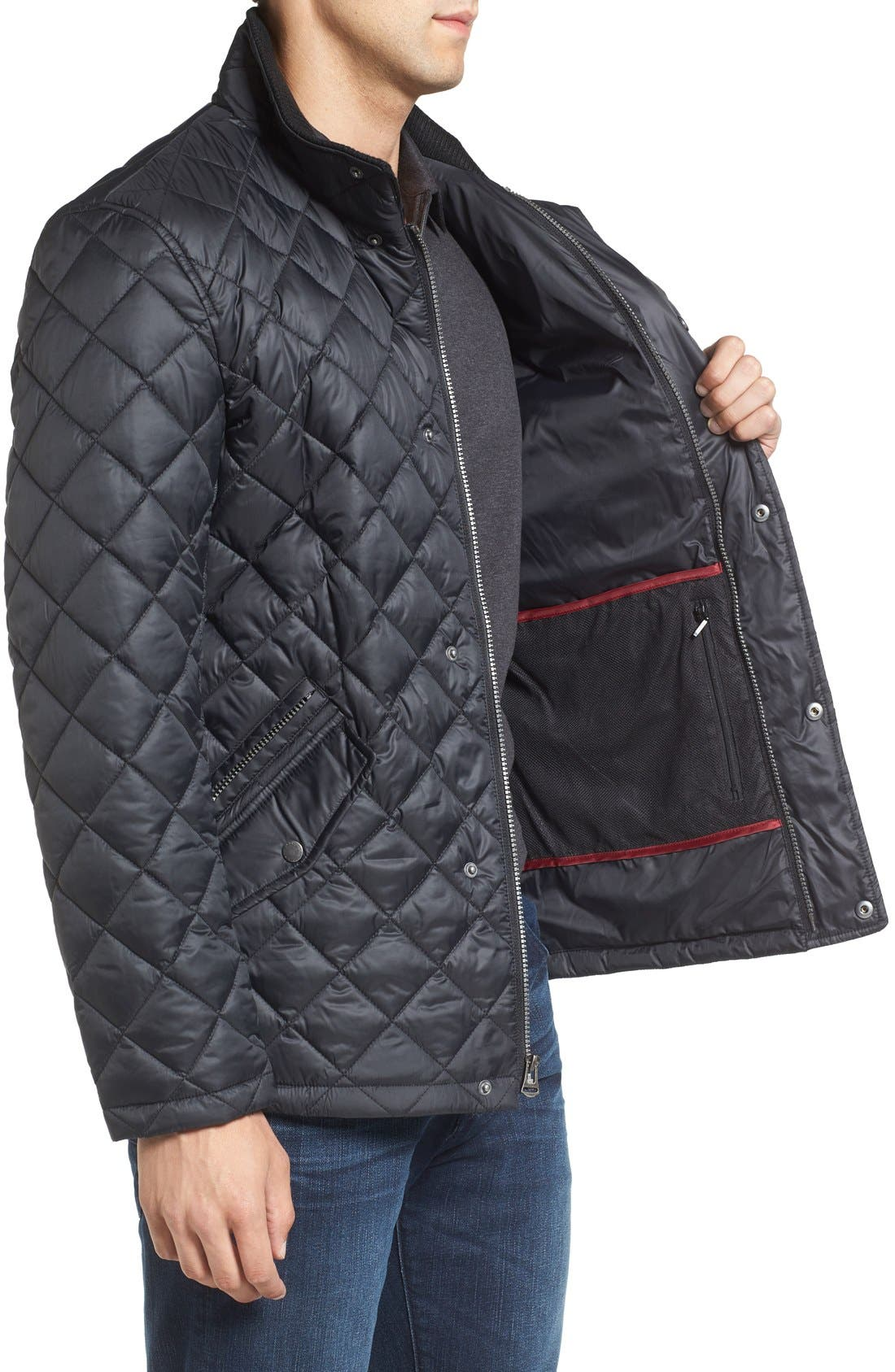 Diamond Quilted Jacket,                             Alternate thumbnail 13, color,                             Navy