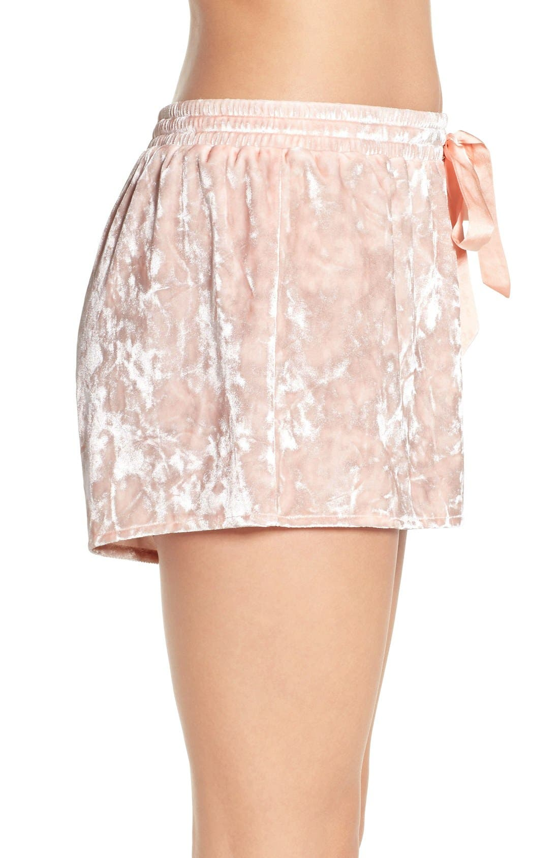 Crushed Velvet Shorts,                             Alternate thumbnail 3, color,                             Pink Wood