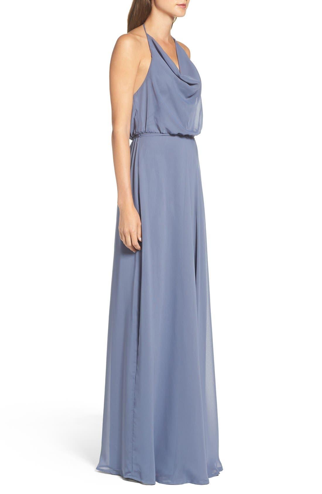 Alternate Image 3  - nouvelle AMSALE 'Alyssa' Cowl Neck Chiffon Halter Gown