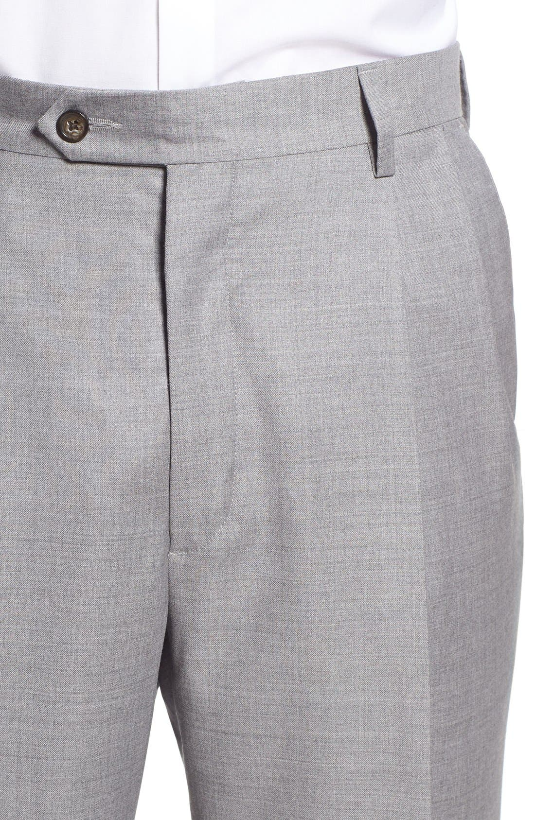Pleated Solid Wool Trousers,                             Alternate thumbnail 5, color,                             Light Grey