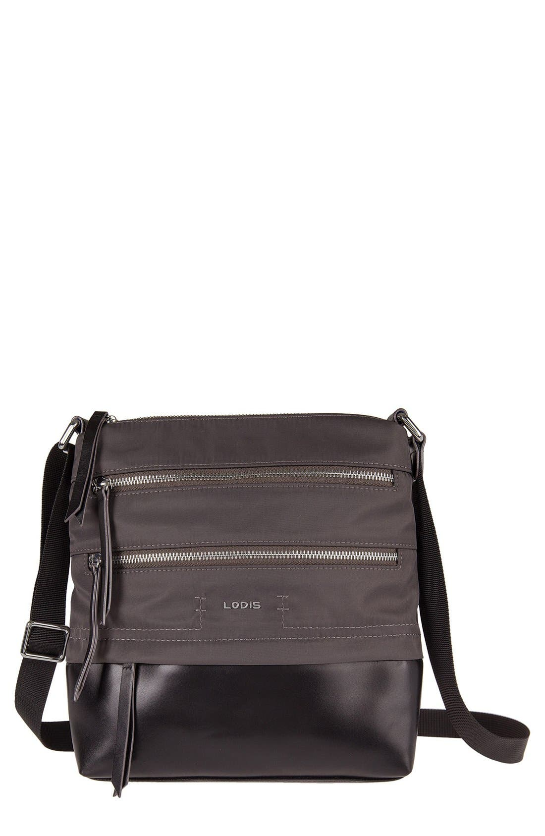 Alternate Image 1 Selected - LODIS Wanda RFID Nylon & Leather Crossbody Bag
