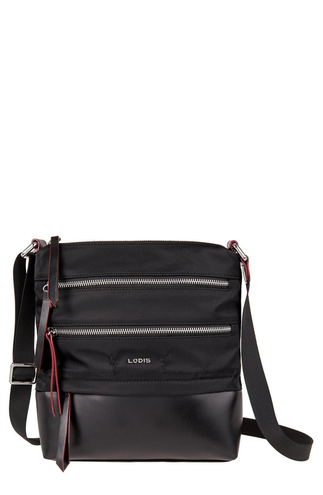 Wanda RFID Nylon & Leather Crossbody Bag,                         Main,                         color, Black