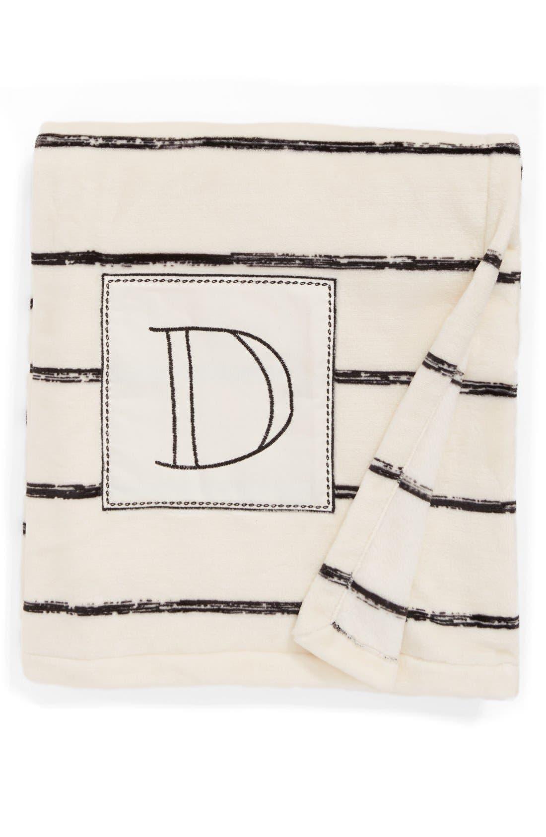 Plush Stripe Monogram Throw Blanket,                         Main,                         color, Black-D