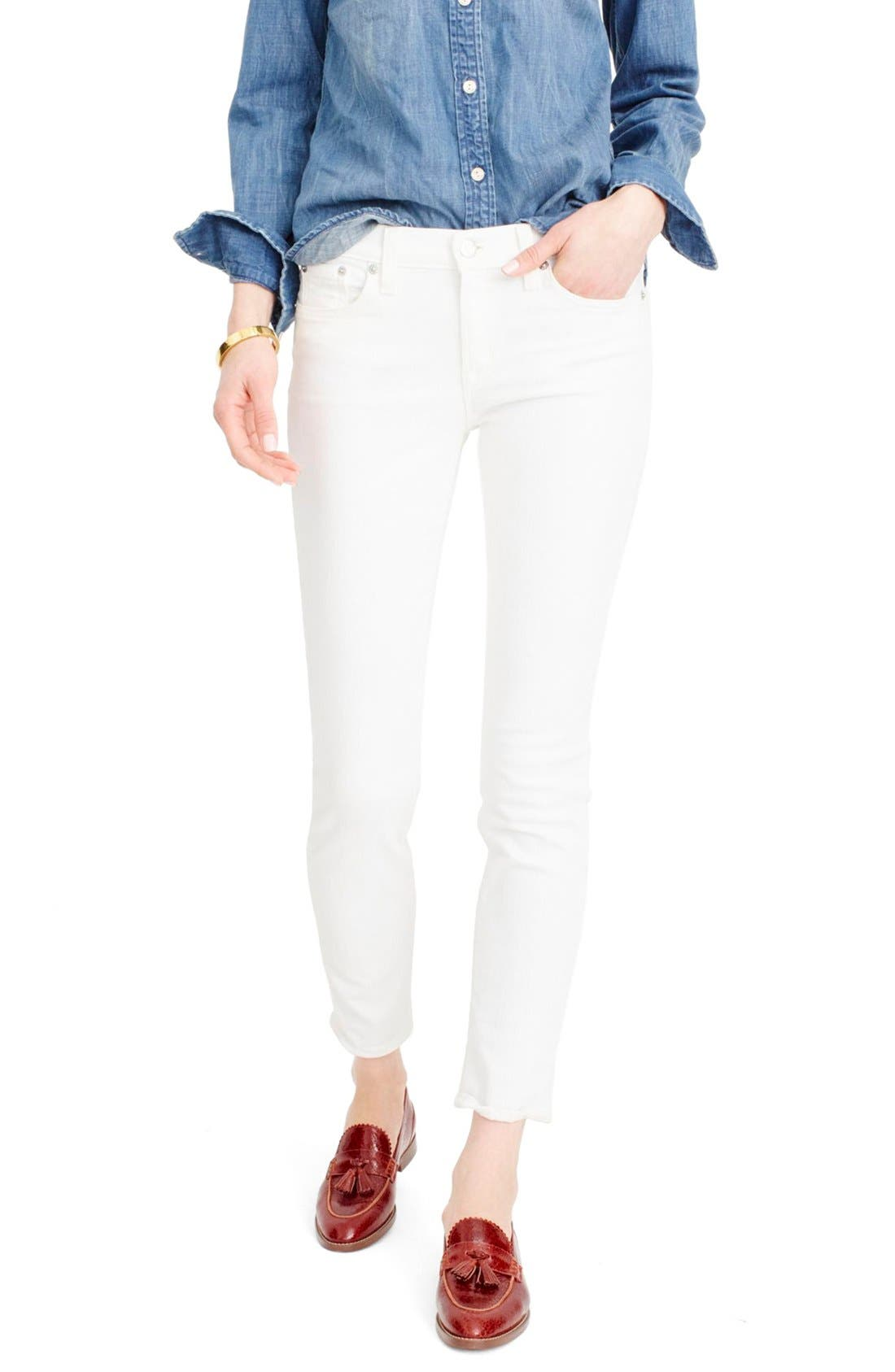 J.Crew Toothpick Jeans,                         Main,                         color, White