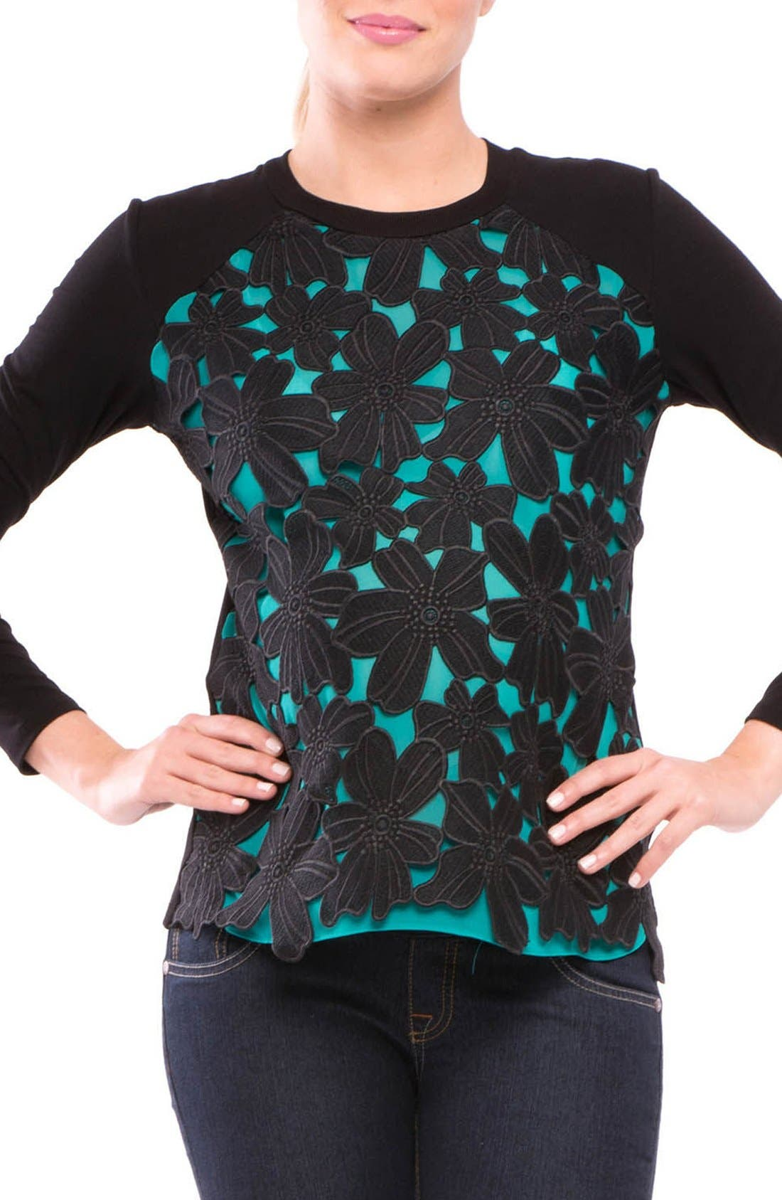Floral Maternity Top,                         Main,                         color, Teal