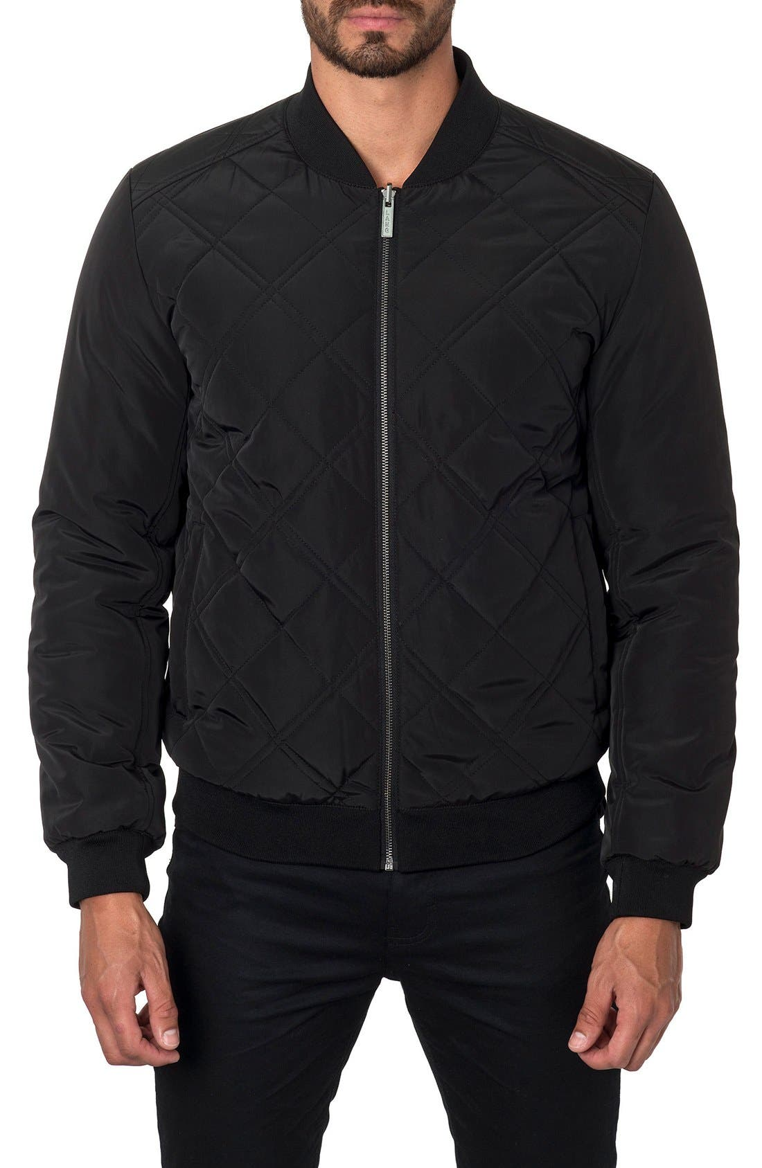 New York Reversible Bomber Jacket,                             Alternate thumbnail 3, color,                             Black Camo/ Black Quilted