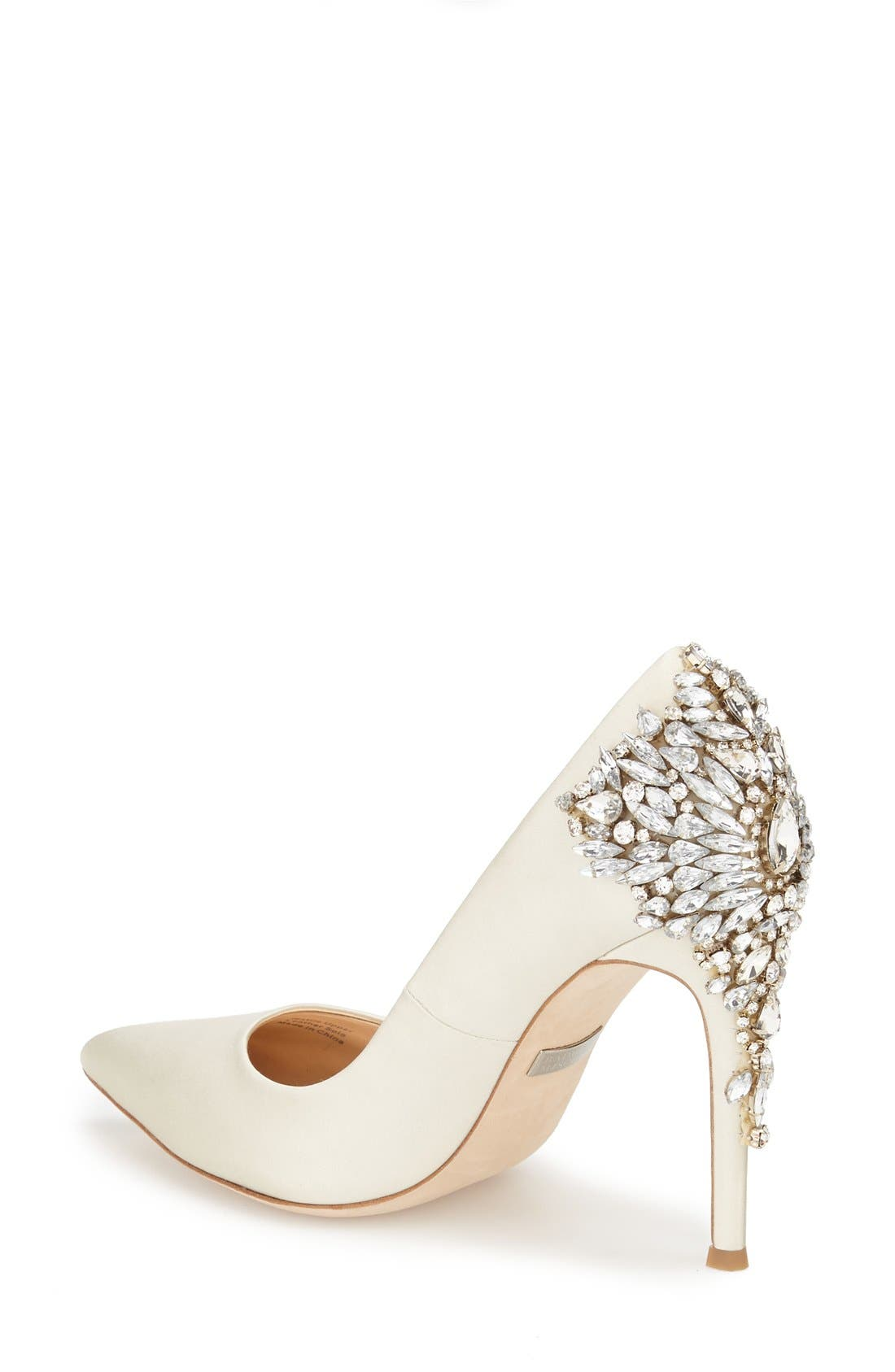 'Gorgeous' Crystal Embellished Pointy Toe Pump,                             Alternate thumbnail 2, color,                             Ivory Satin