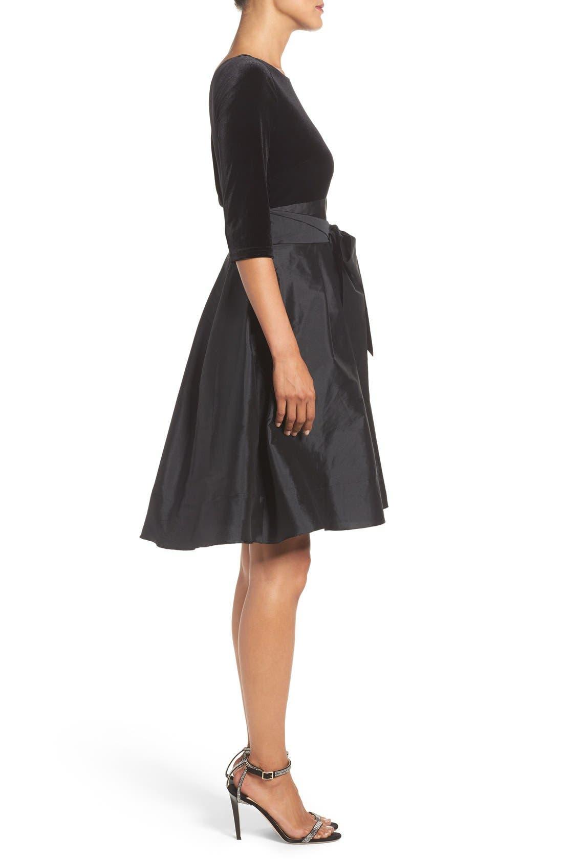 Alternate Image 3  - Adrianna Papell Velvet & Taffeta Fit & Flare Dress