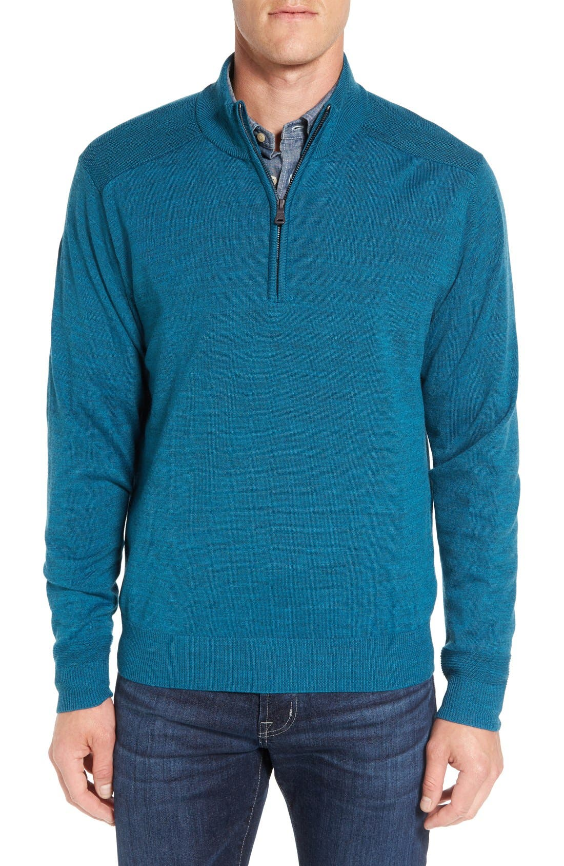 Douglas Quarter Zip Wool Blend Sweater,                         Main,                         color, Mykonos Heather