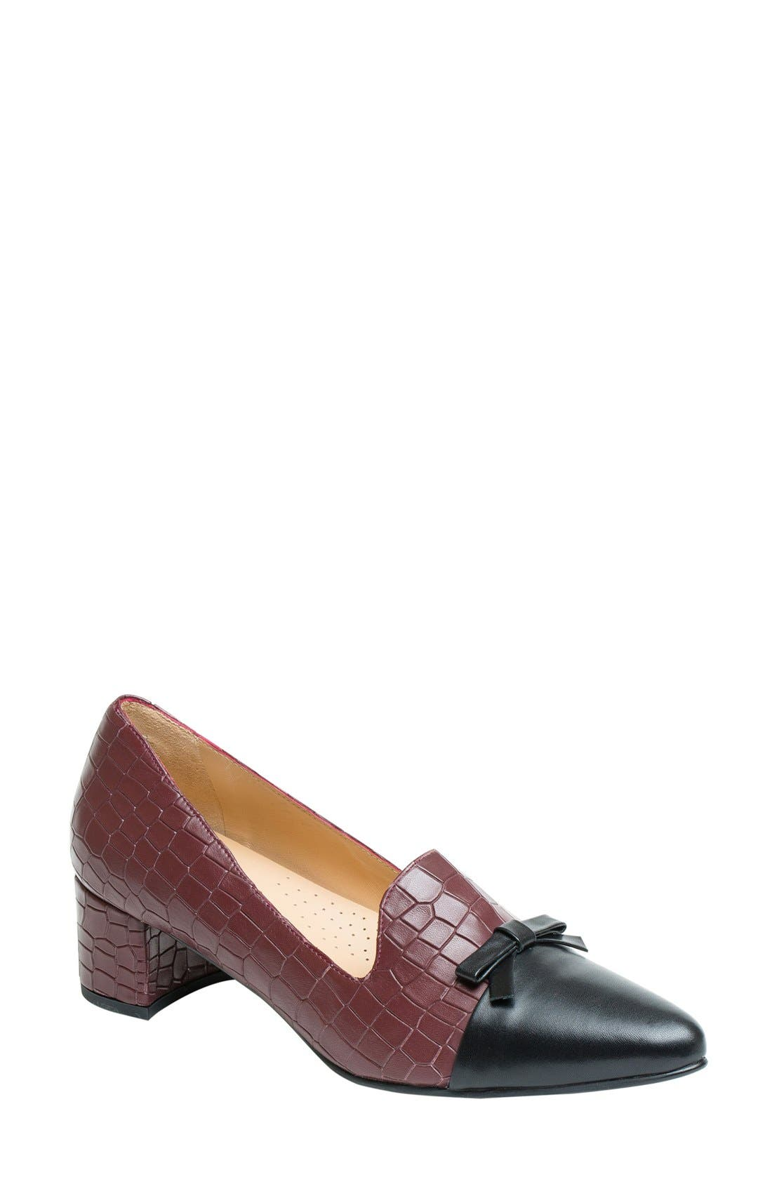 Paloma Loafer Pump,                         Main,                         color, Burgundy Leather