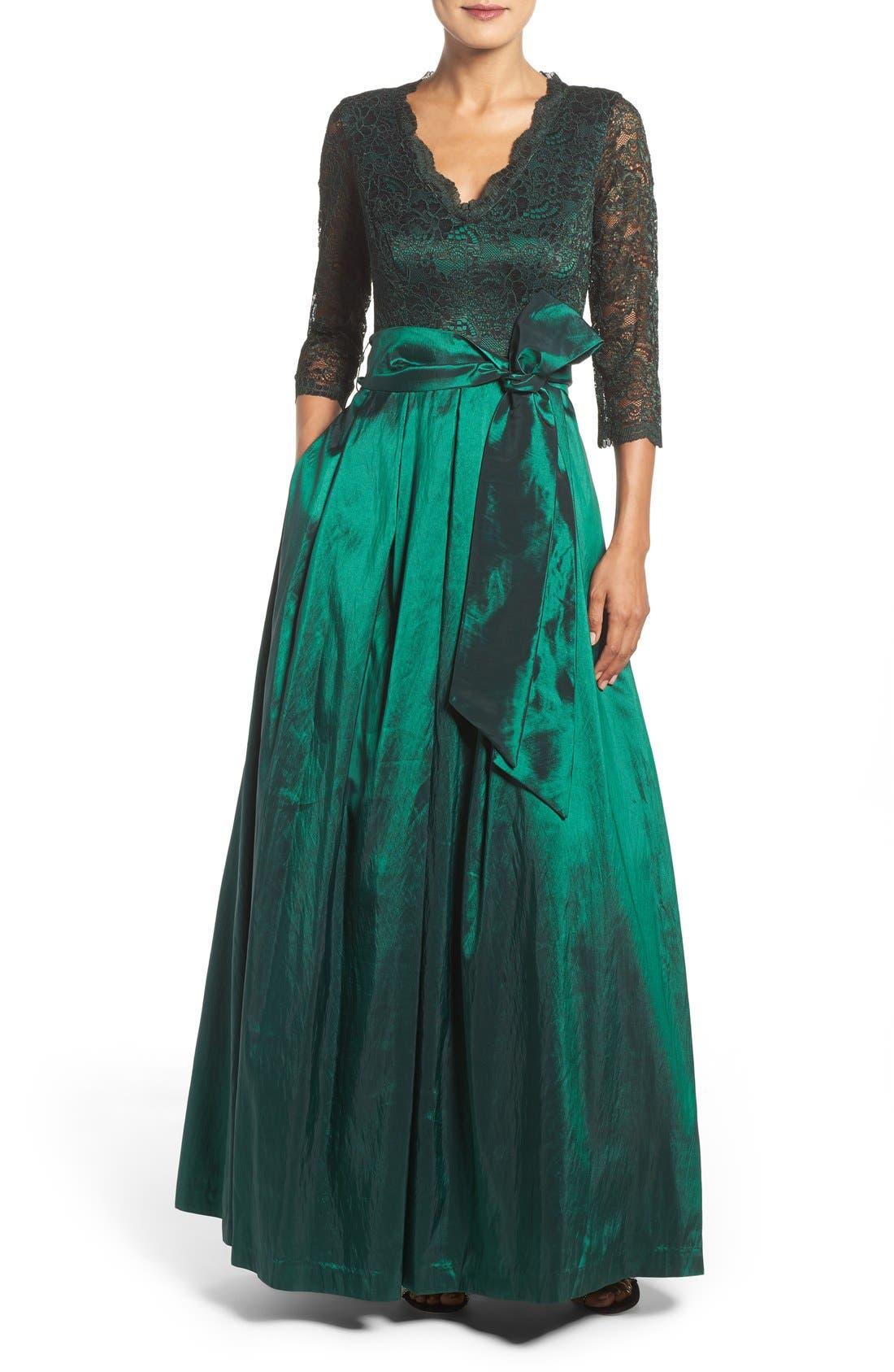 Alternate Image 1 Selected - Eliza J Lace & Taffeta Gown