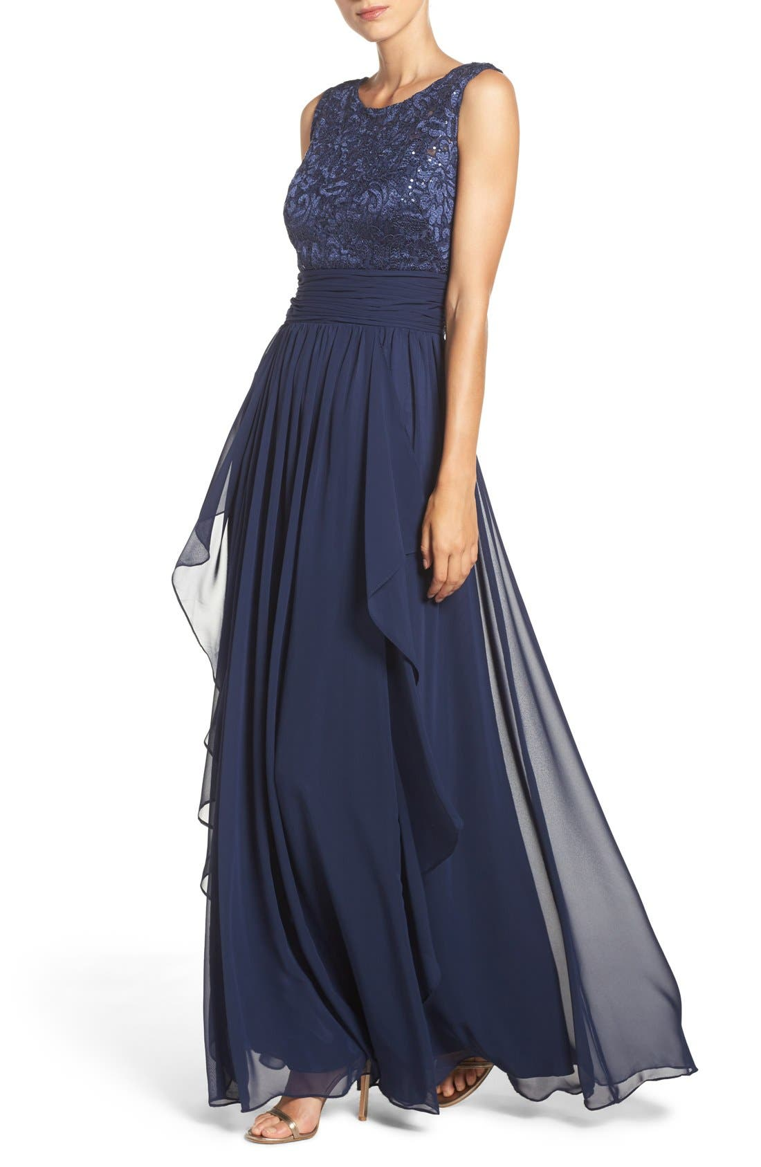 Lace & Chiffon Gown,                             Alternate thumbnail 4, color,                             Navy