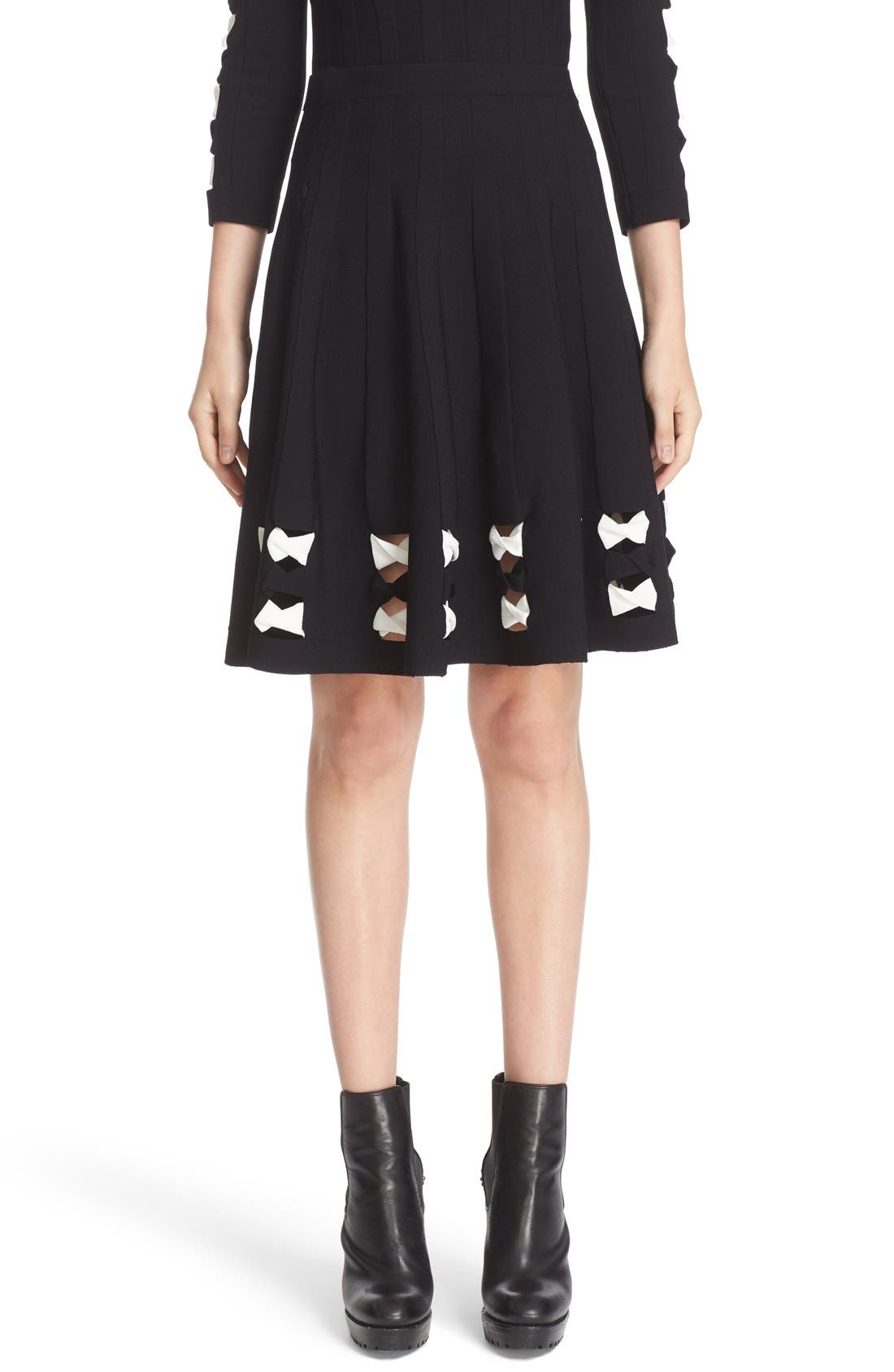 Twisted Cutout Skirt,                         Main,                         color, Black/ Ivory