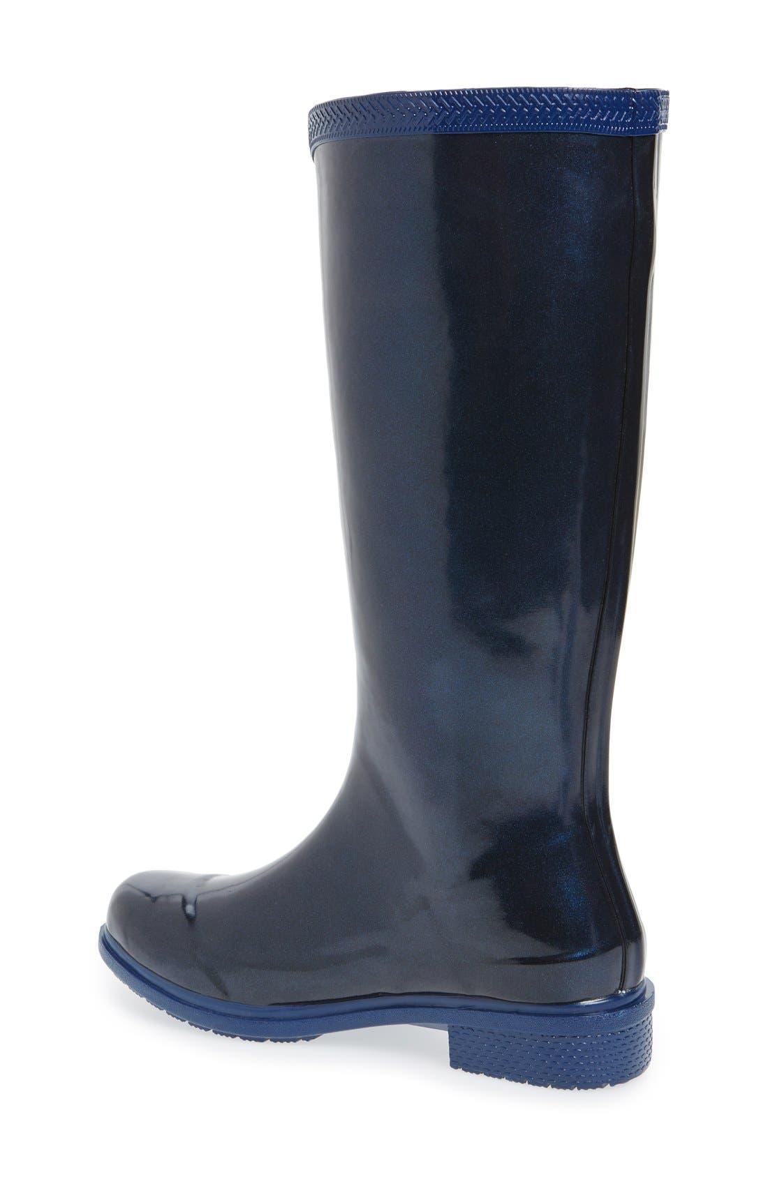 'Galochas Hi Metallic' Waterproof Rain Boot,                             Alternate thumbnail 2, color,                             Navy Blue Metallic