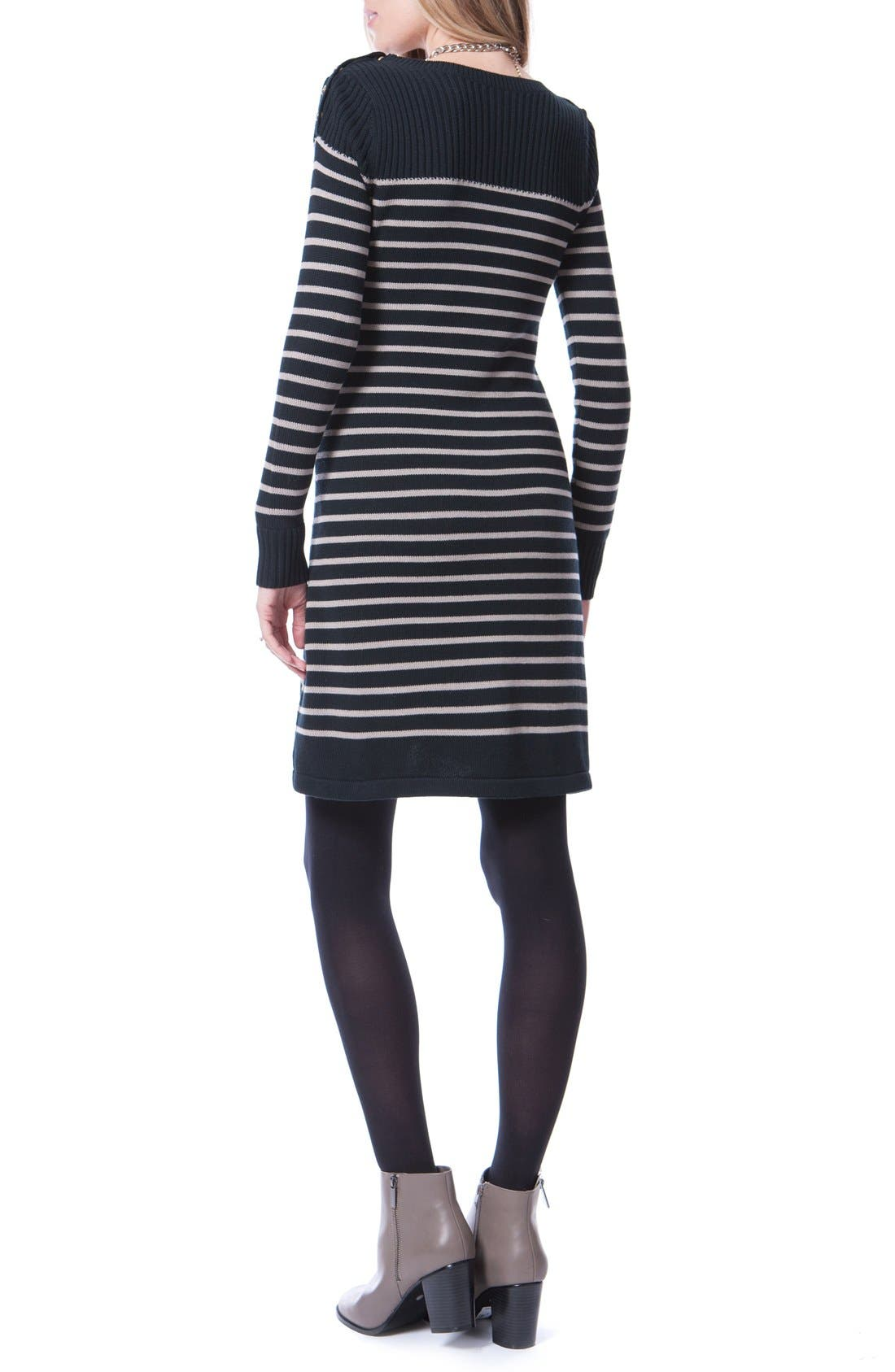 Hayden Stripe Maternity/Nursing Dress,                             Alternate thumbnail 2, color,                             Black/ Sand