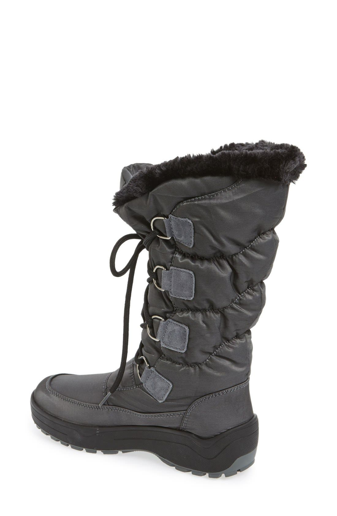 'Riga' Waterproof Ice Grippers<sup>®</sup> Boot,                             Alternate thumbnail 2, color,                             Charcoal Fabric