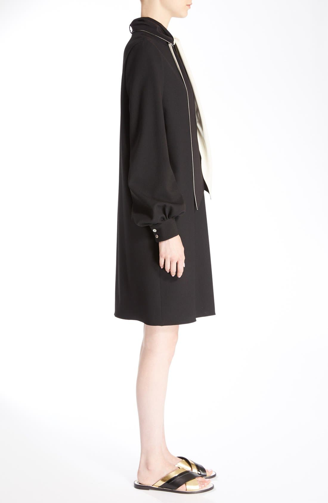 Wool Crepe Dress with Detachable Scarf,                             Alternate thumbnail 4, color,                             Black