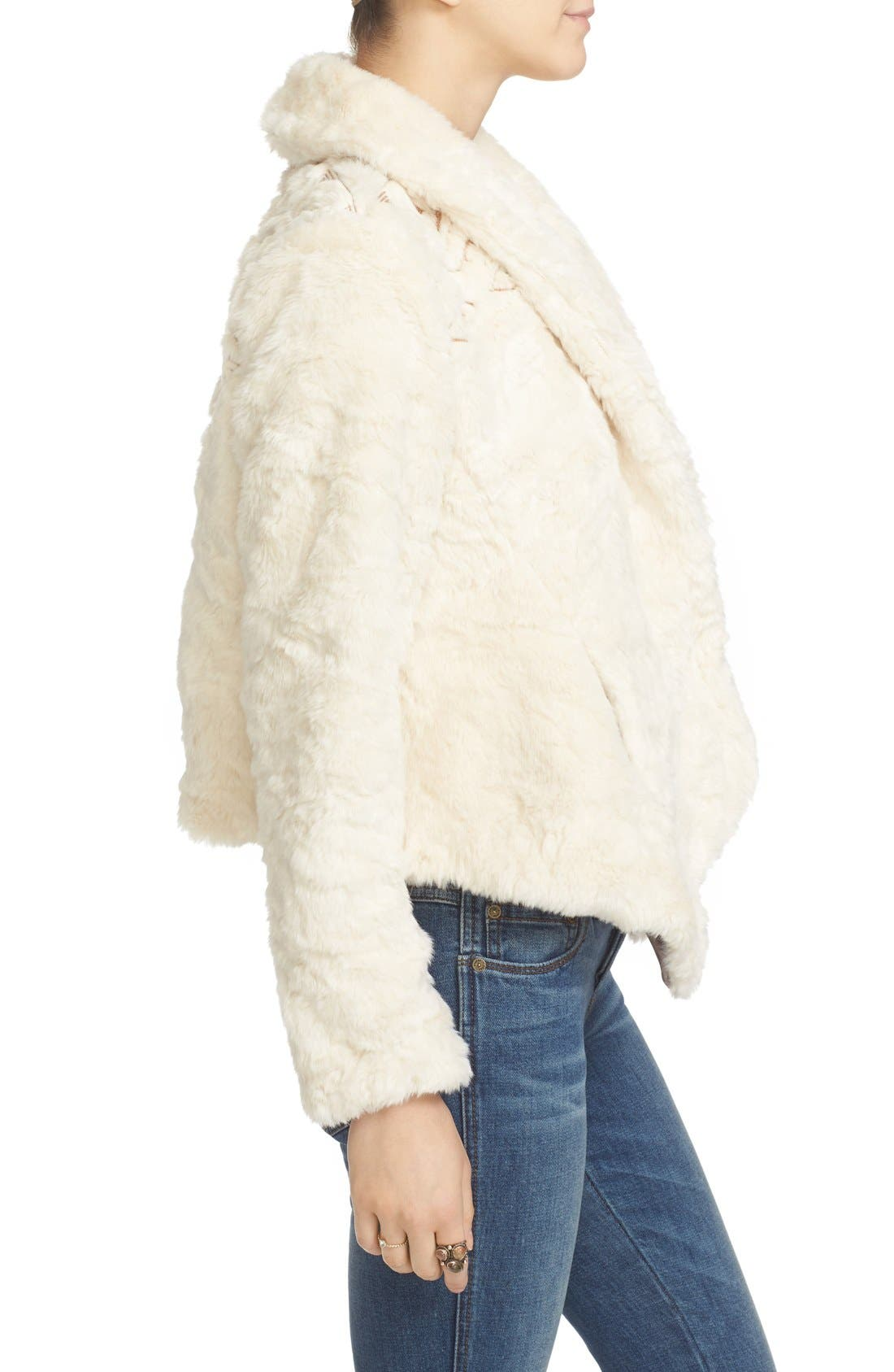 Alternate Image 4  - Free People Embroidered Faux Fur Jacket