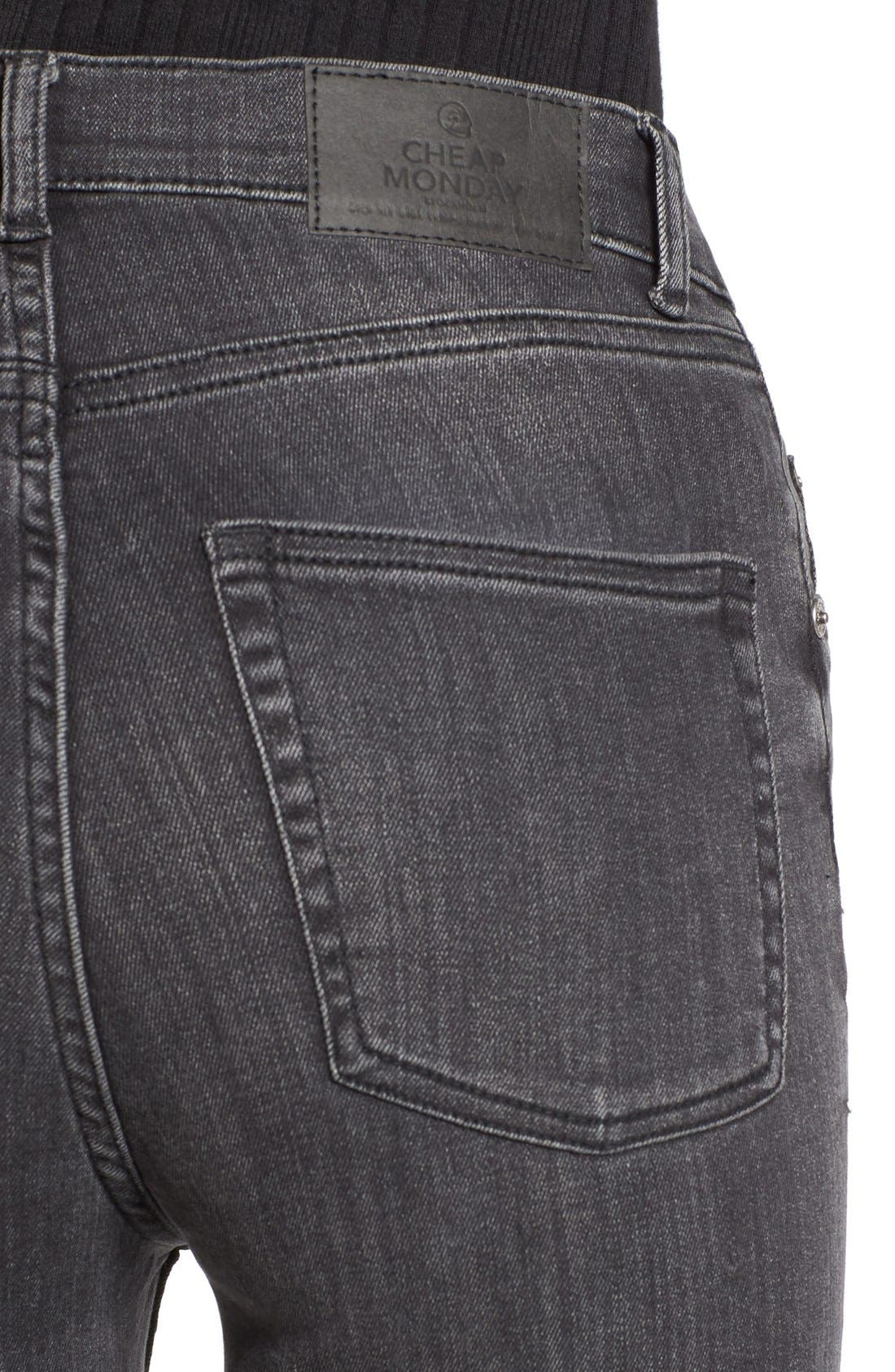 Alternate Image 4  - Cheap Monday Second Skin High Rise Skinny Jeans (Shadow)