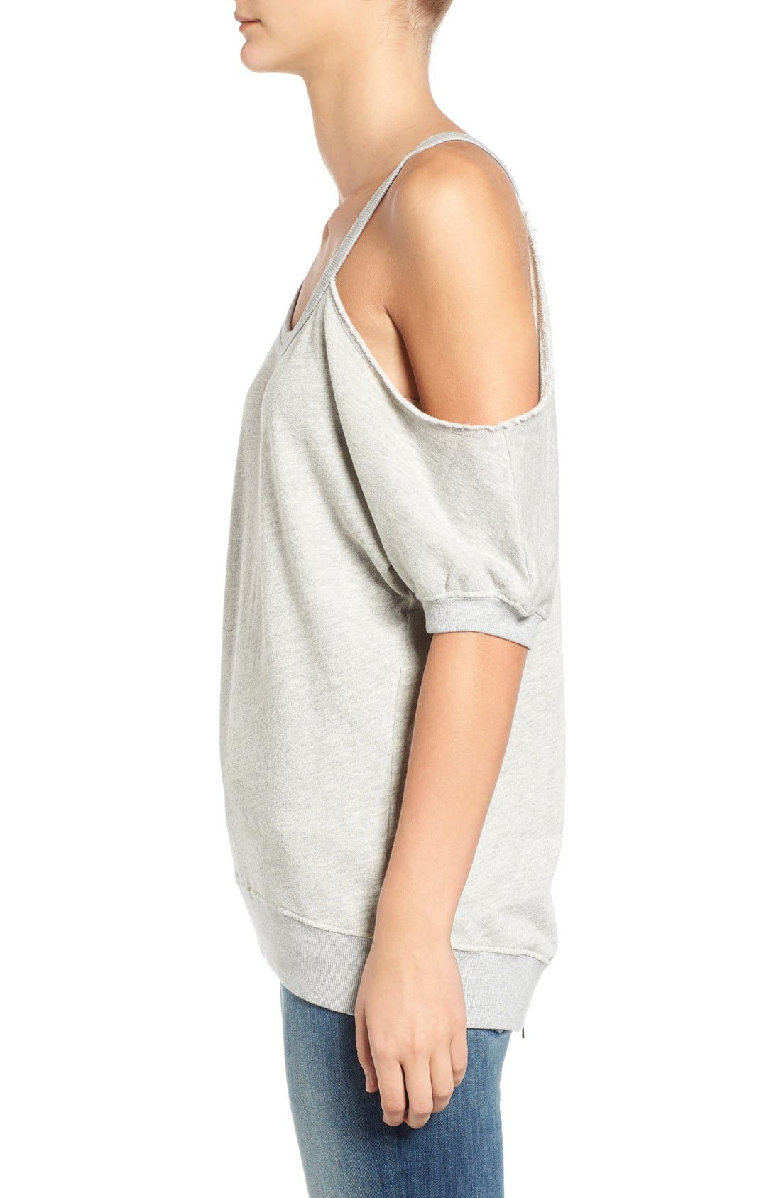 Distressed Open Shoulder Sweatshirt,                             Alternate thumbnail 3, color,                             Heather Grey