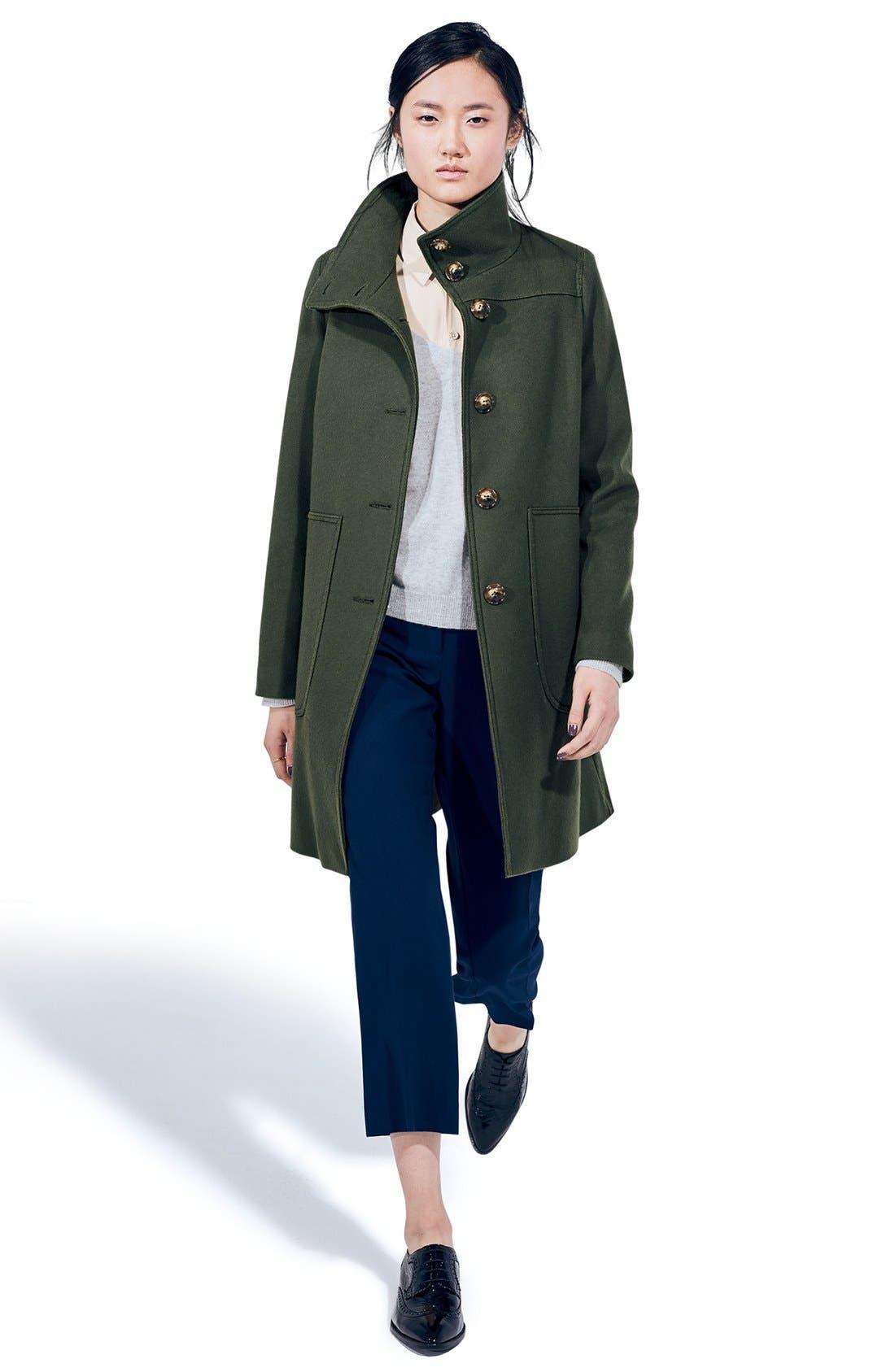 Alternate Image 2  - Kristen Blake Funnel Neck Wool Blend Coat  (Regular & Petite)