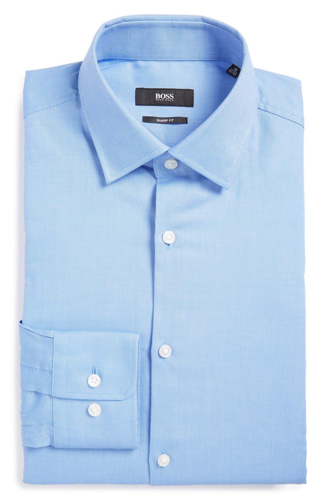 Sharp Fit Solid Dress Shirt,                         Main,                         color, Blue