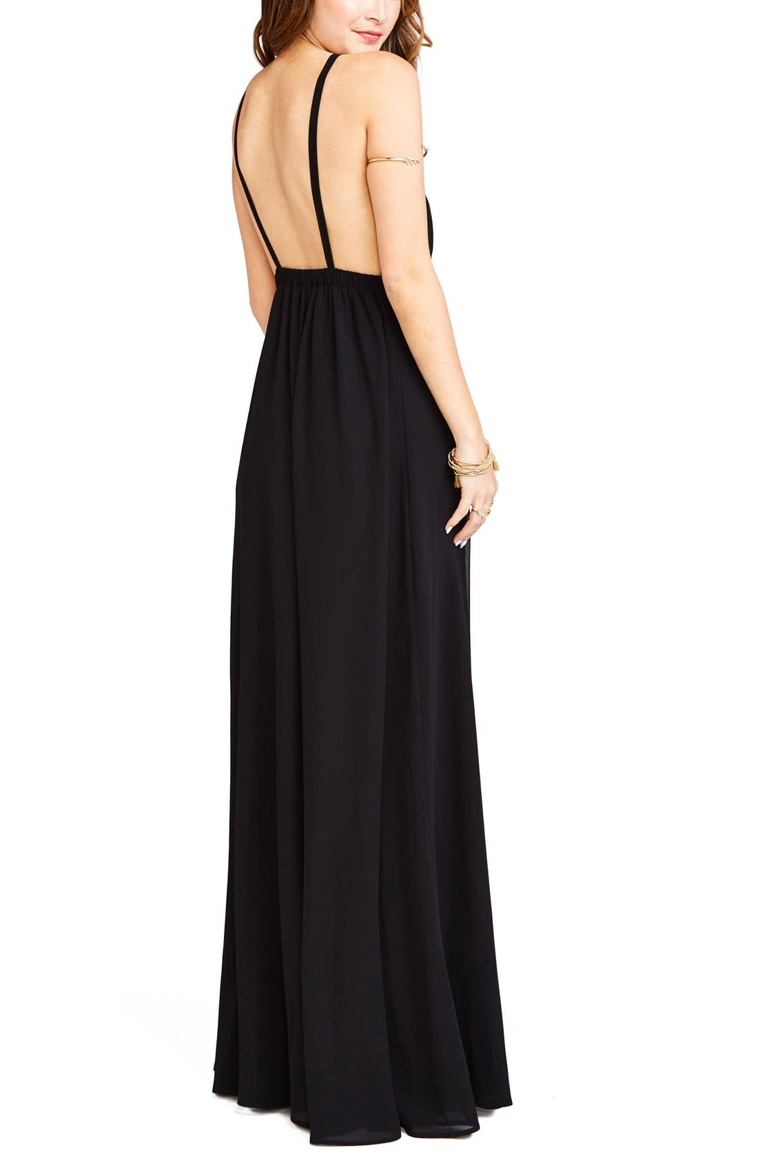 Amanda Open Back Blouson Gown,                             Alternate thumbnail 2, color,                             Black Chiffon