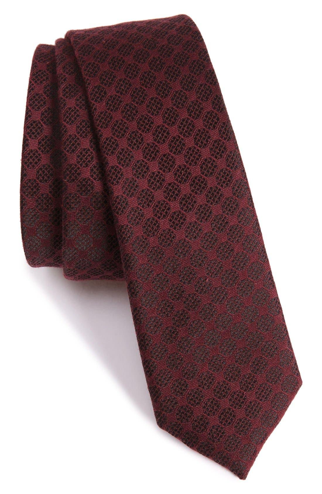 The Kooples Checkerboard Jacquard Skinny Tie