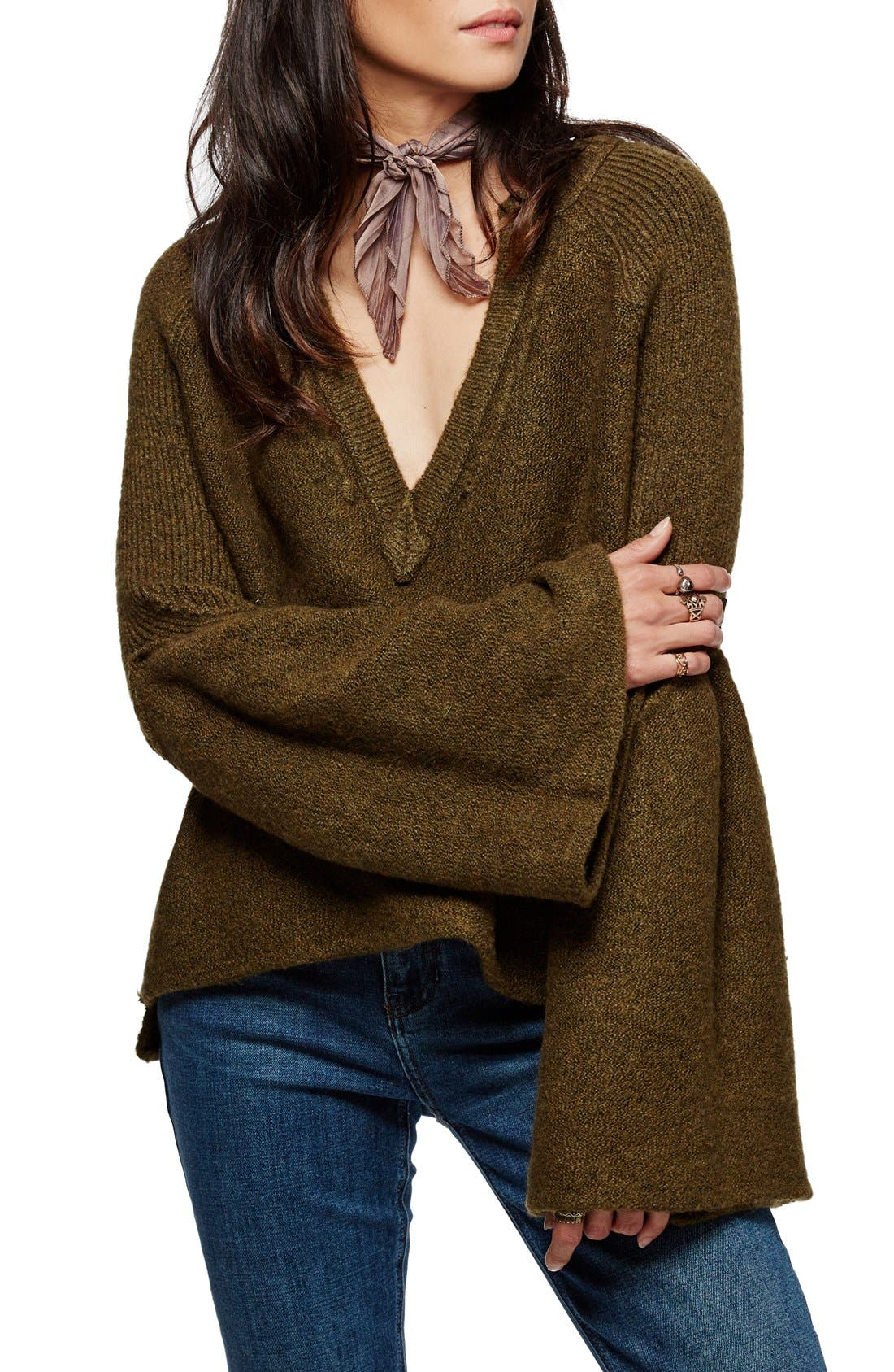 Alternate Image 1 Selected - Free People Lovely Lines Bell Sleeve Sweater