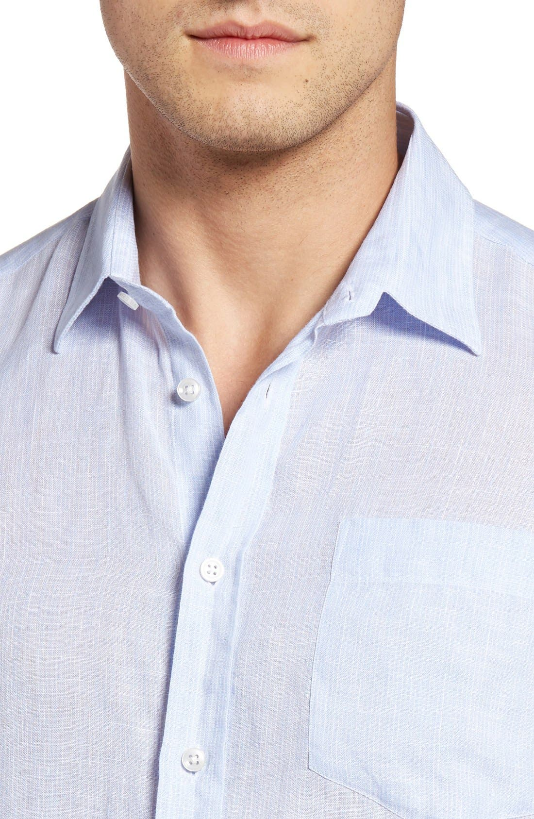 Regular Fit Linen Sport Shirt,                             Alternate thumbnail 4, color,                             Sky Blue
