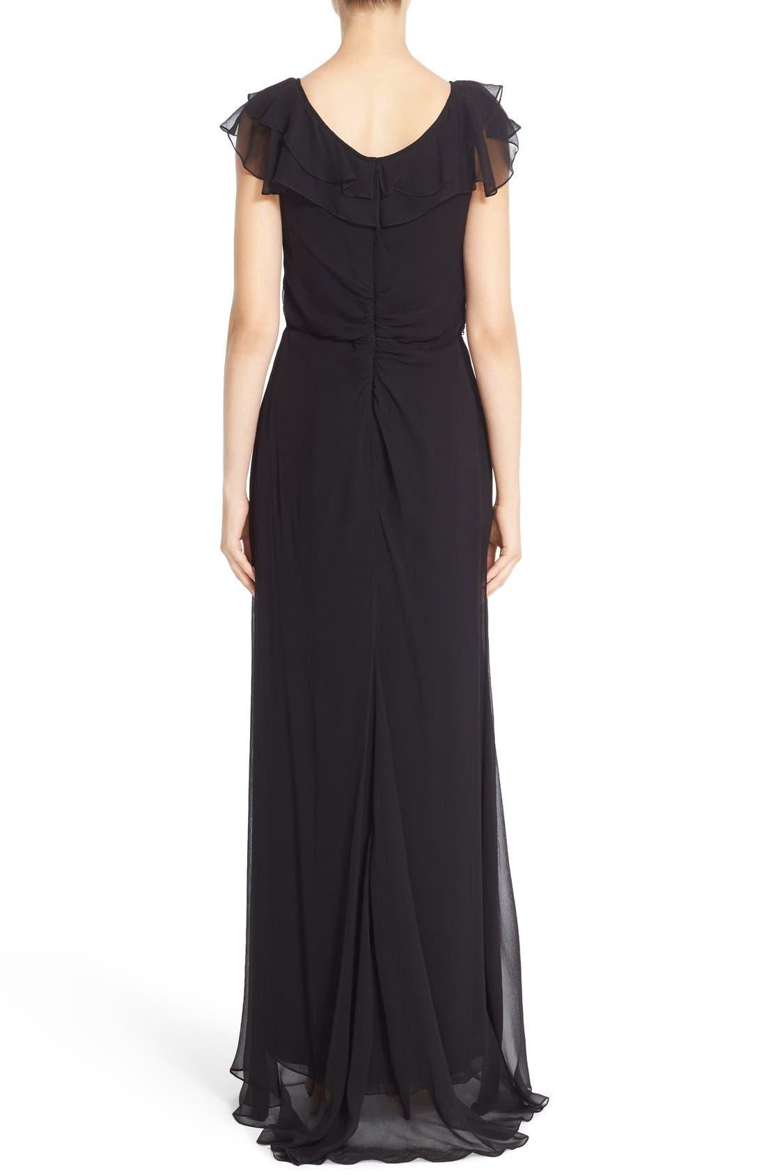 Alternate Image 2  - Carolina Herrera Ruffled Chiffon Column Gown