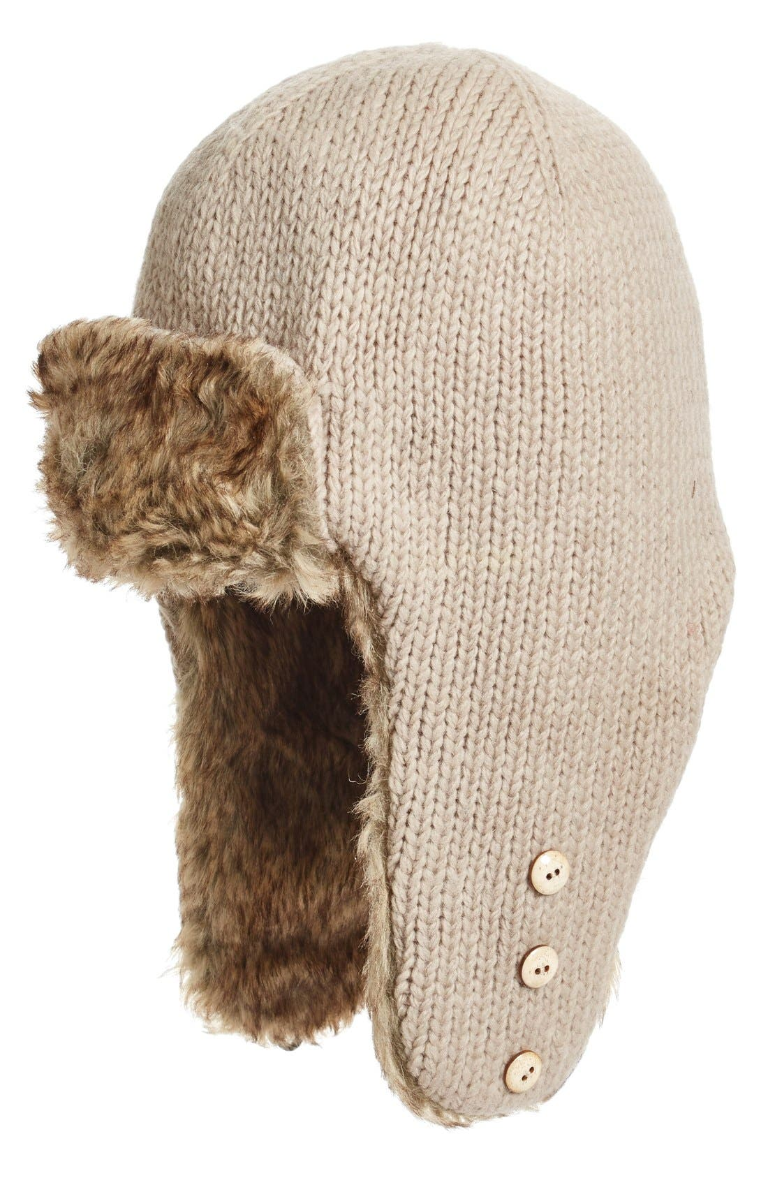 Earflap Hat with Faux Fur Trim,                             Main thumbnail 1, color,                             Oatmeal