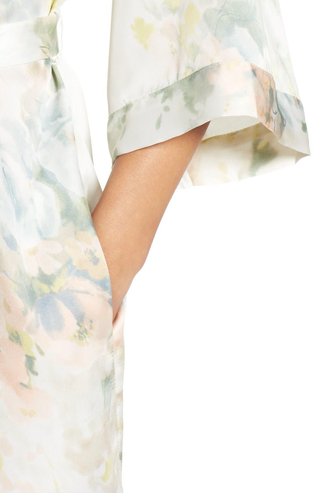 Isabella Floral Print Kimono Robe,                             Alternate thumbnail 4, color,                             Ivory Sage