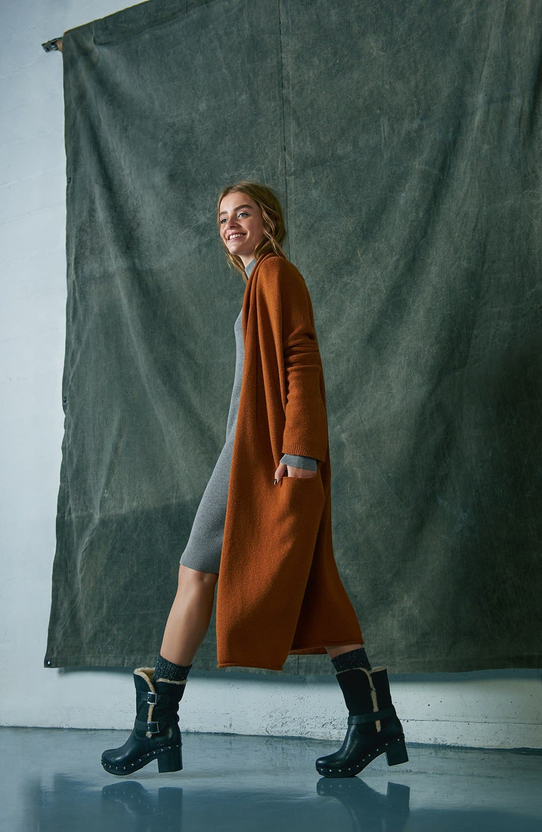 Alternate Image 9  - Leith Easy Fit Long Cotton Blend Cardigan