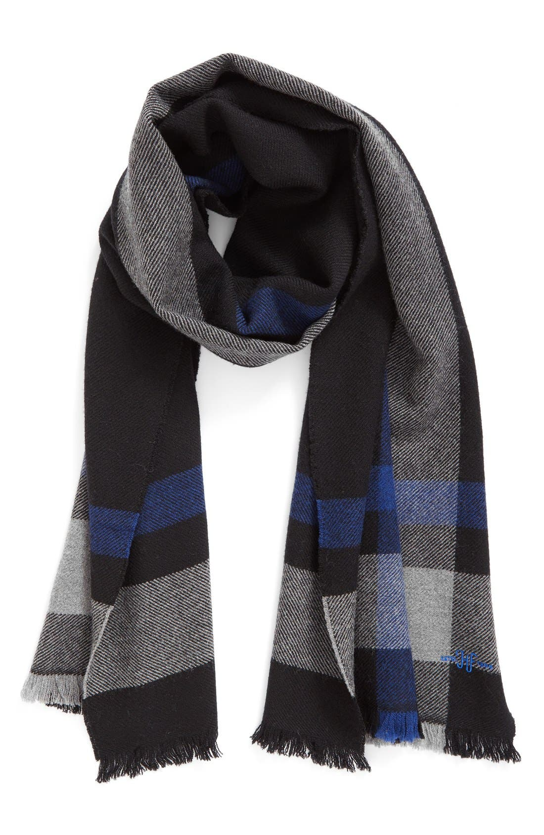 Hickey Freeman Exploded Plaid Wool Scarf