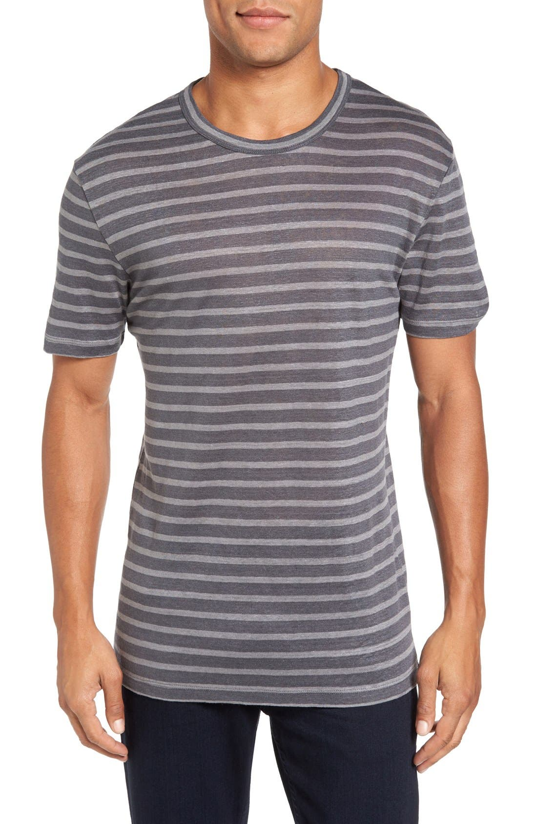 Alternate Image 1 Selected - Slate & Stone Stripe Linen T-Shirt