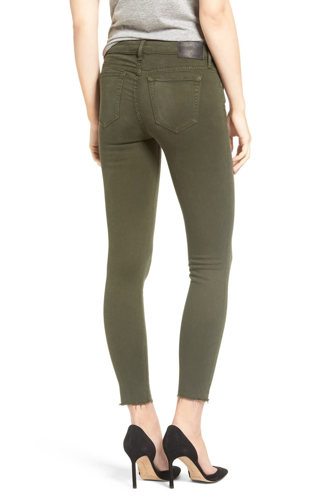 Icon Ankle Skinny Jeans,                             Alternate thumbnail 3, color,                             Military Green