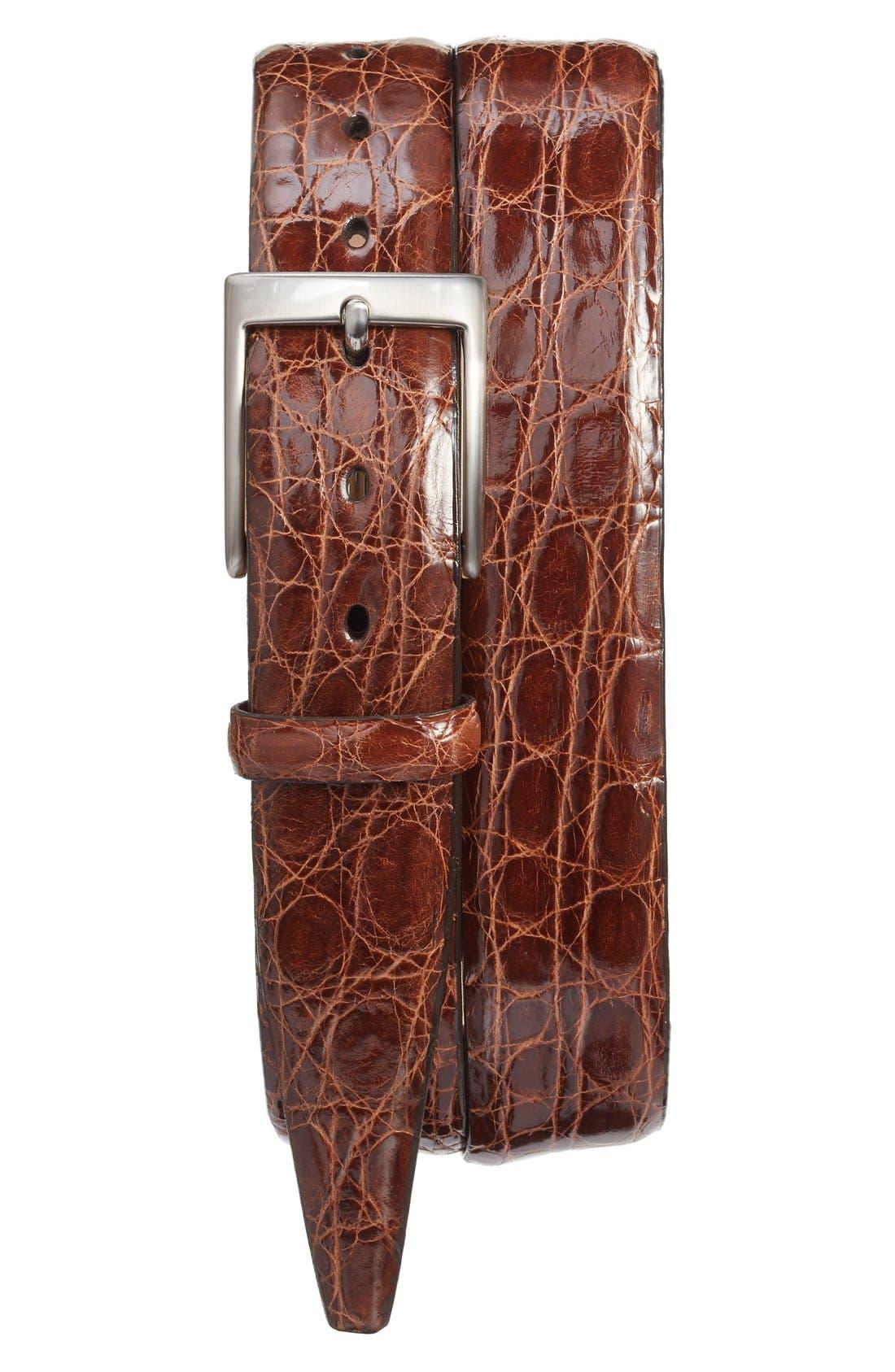 Caiman Alligator Leather Belt,                         Main,                         color, Cognac Brown