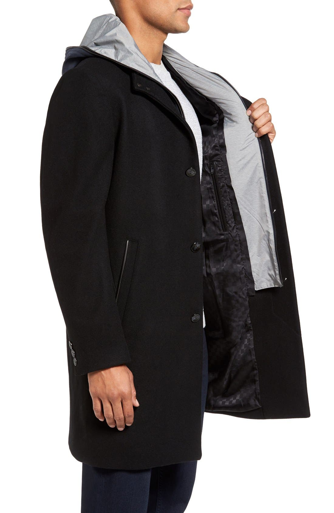 Hooded Campus Coat,                             Alternate thumbnail 3, color,                             Black