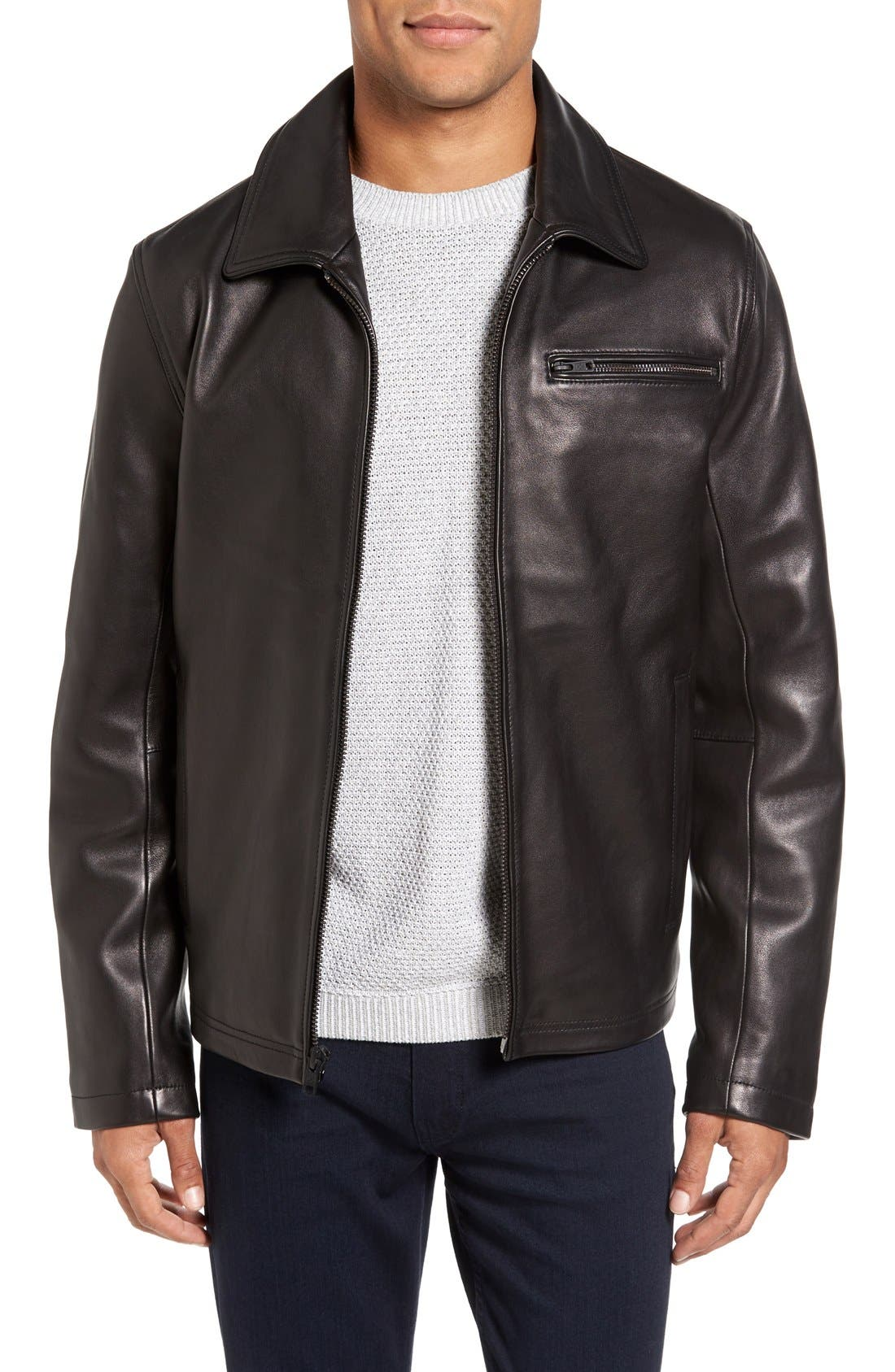 Leather Jacket with Removable Hooded Bib,                             Alternate thumbnail 4, color,                             Black