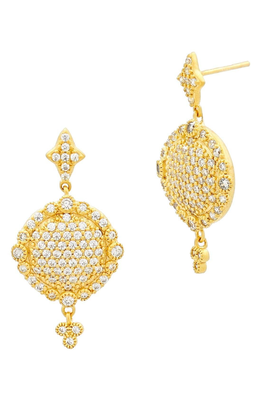 'Mercer' Pavé Drop Earrings,                             Main thumbnail 1, color,                             Gold