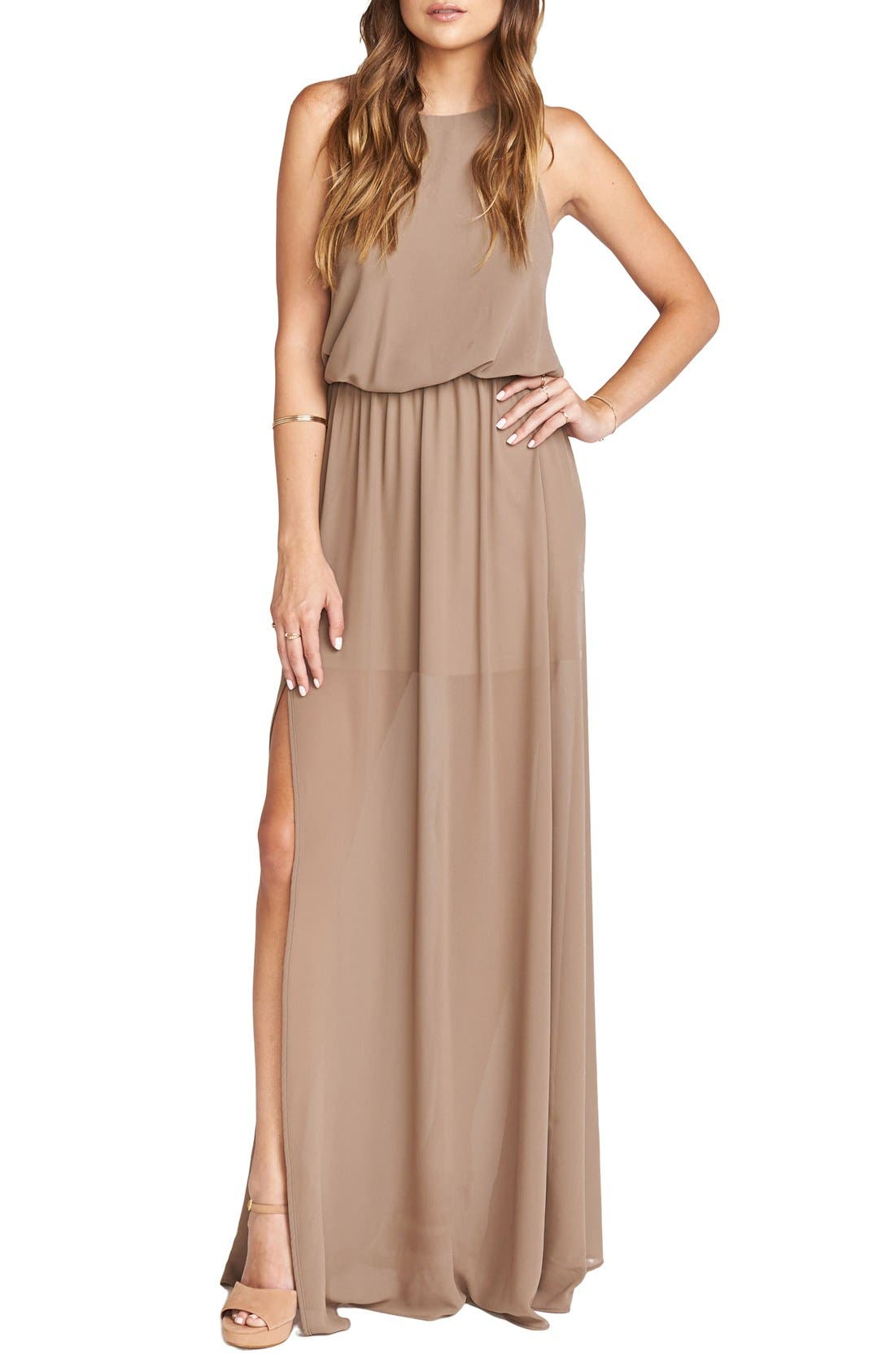 Heather Chiffon Halter Gown,                         Main,                         color, Dune