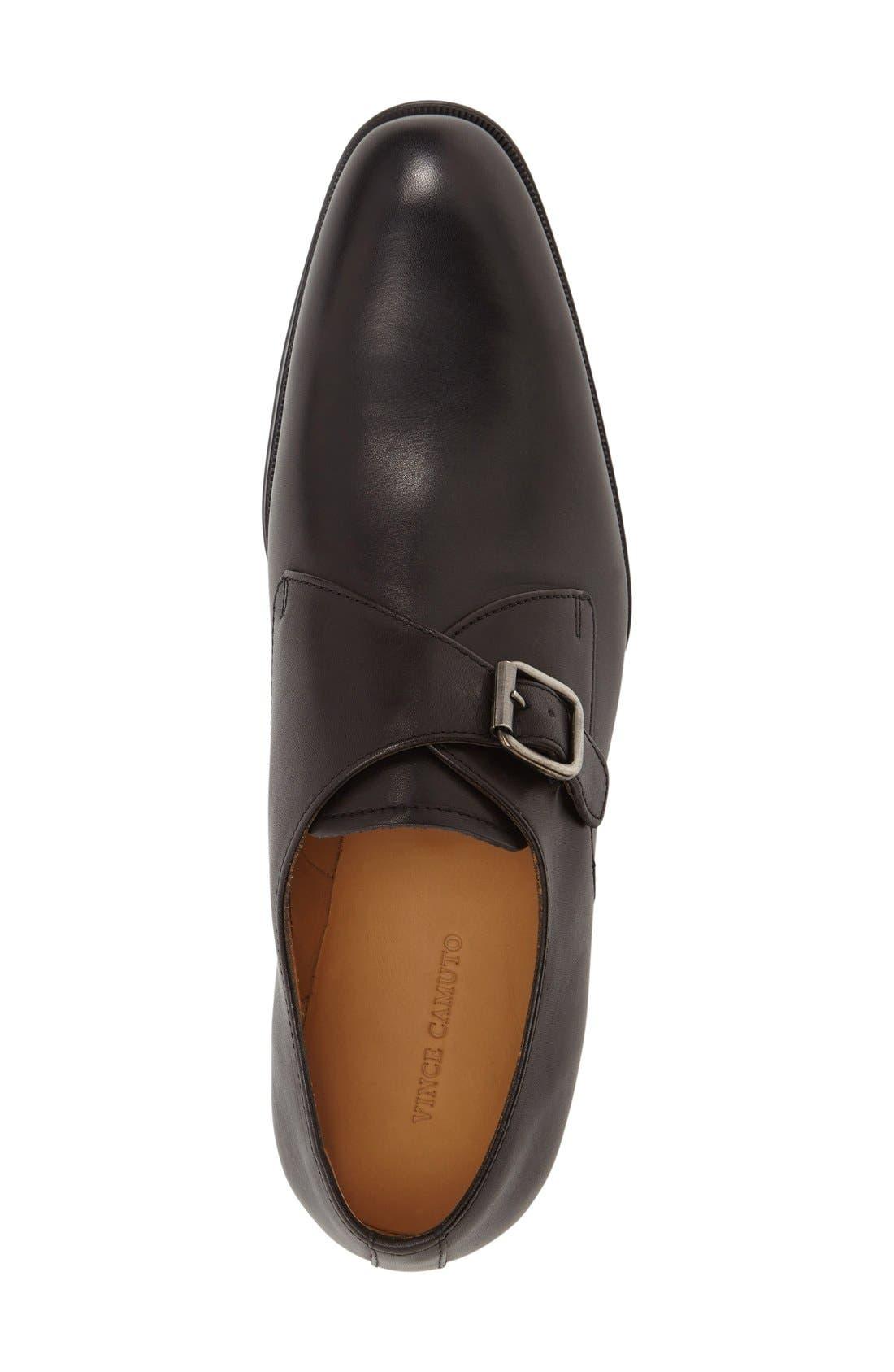 'Trifolo' Monk Strap Shoe,                             Alternate thumbnail 3, color,                             Black Leather