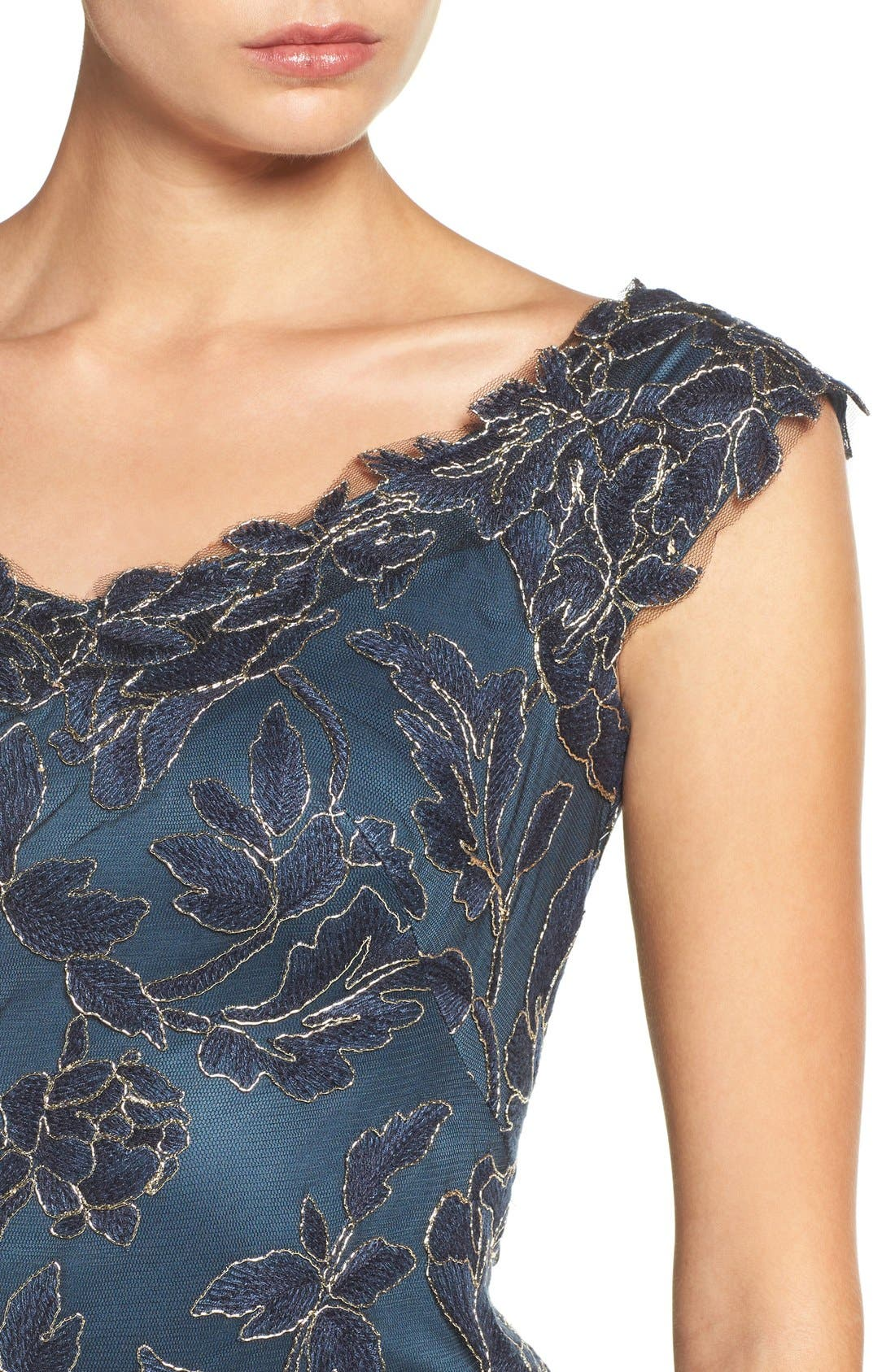 Alternate Image 5  - Tadashi Shoji Embroidered Mesh Sheath Dress (Regular & Petite)