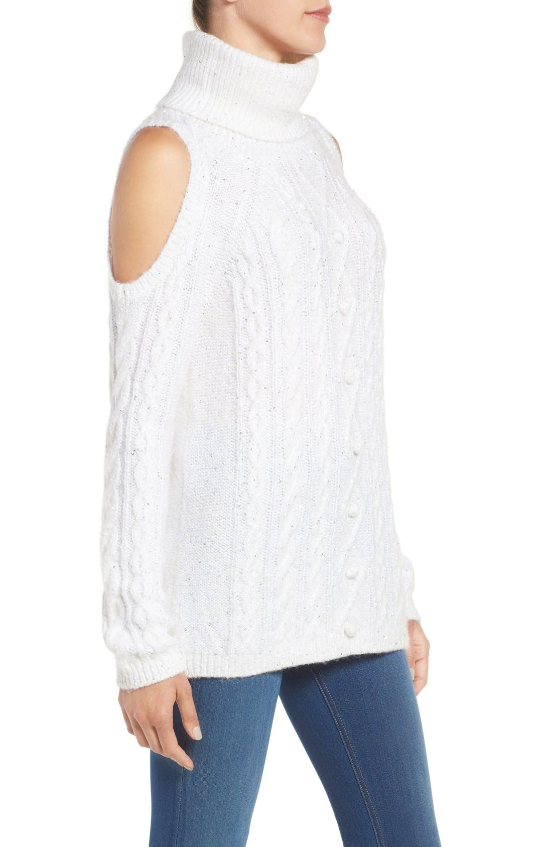 Alternate Image 3  - Chelsea28 Sequin Cold Shoulder Sweater