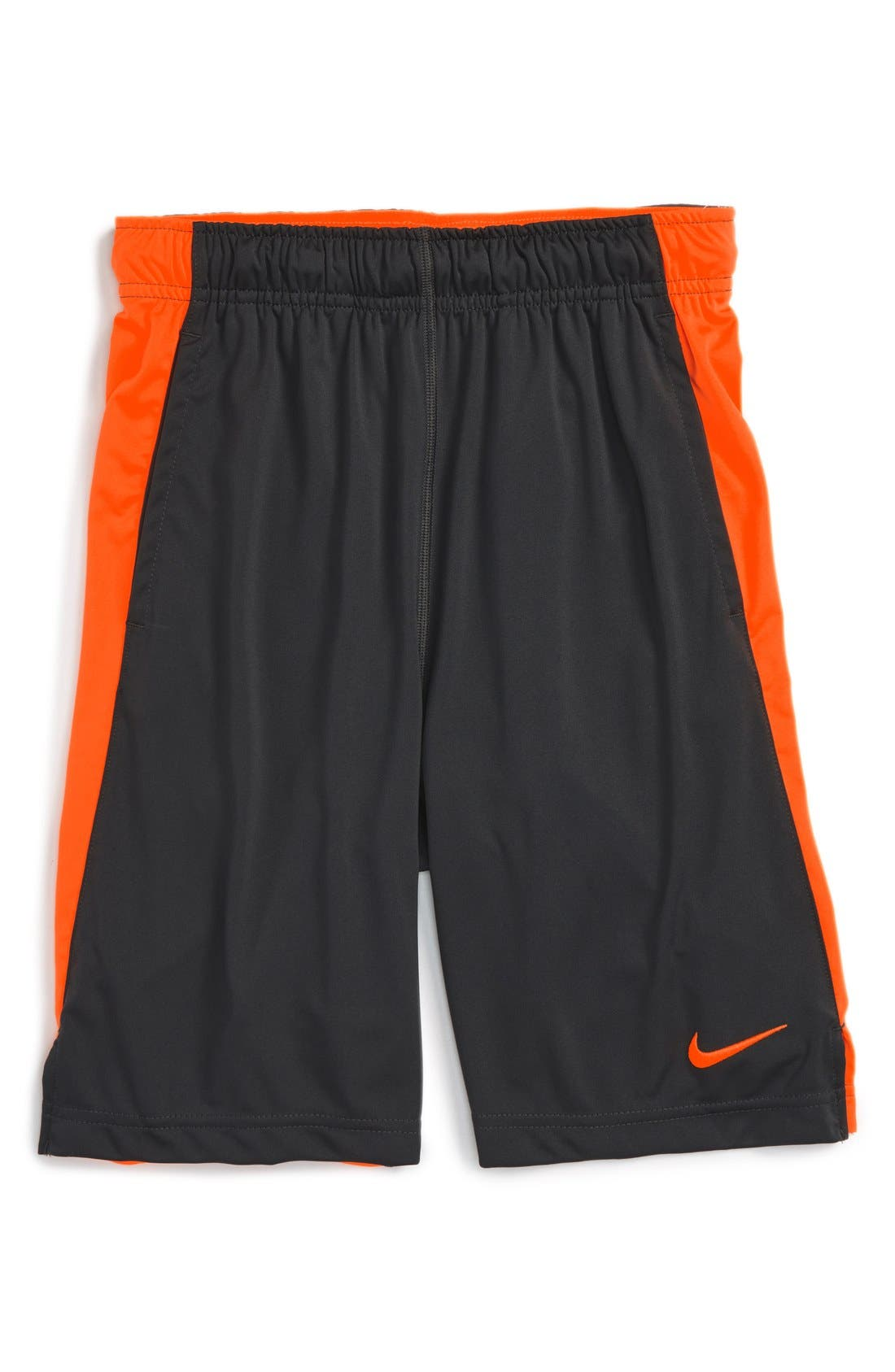 'Fly' Dri-FIT Training Shorts,                             Main thumbnail 1, color,                             Anthracite/ Orange