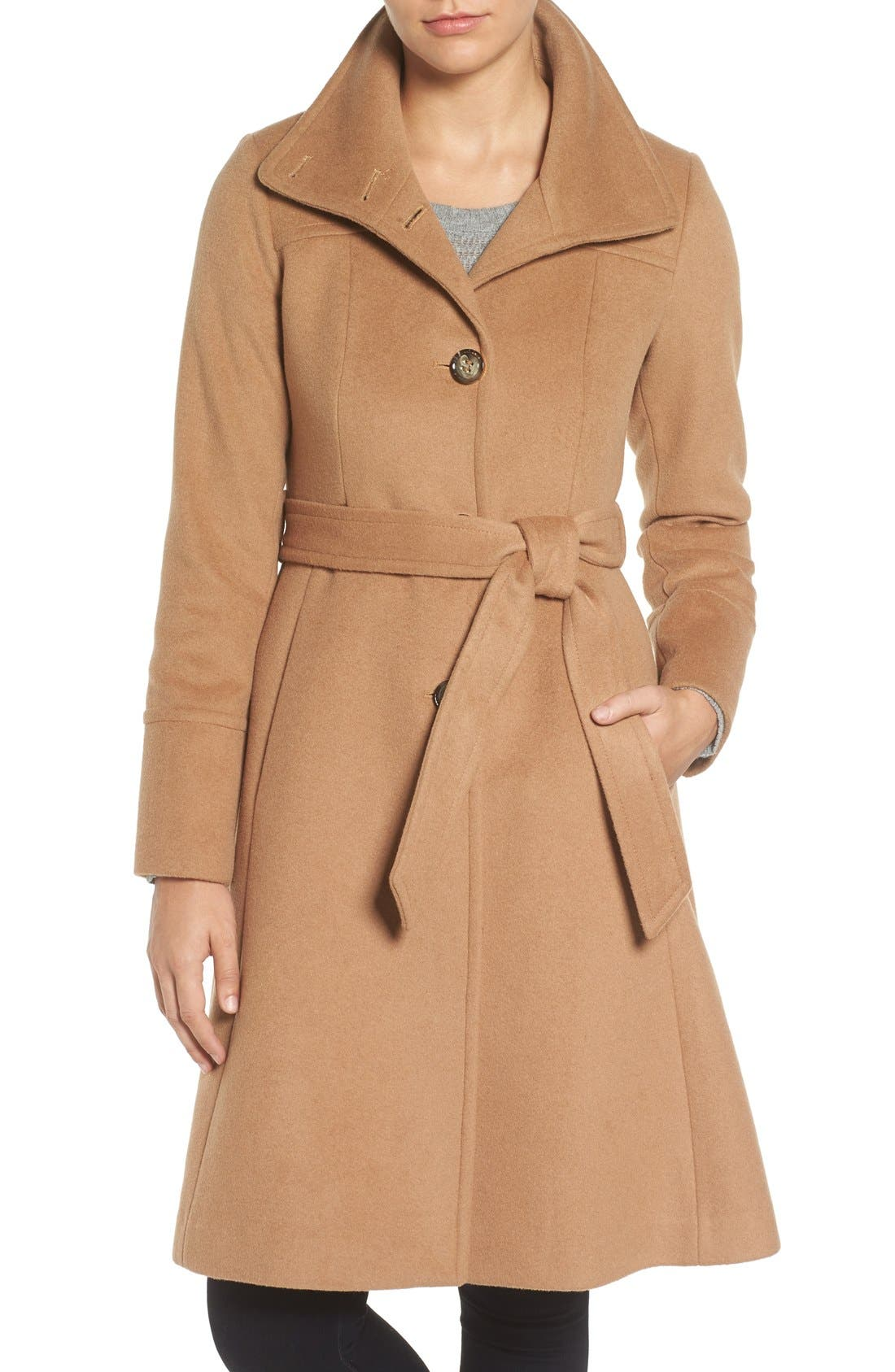 Main Image - Eliza J Luxe Wool Blend Belted Long A-Line Coat